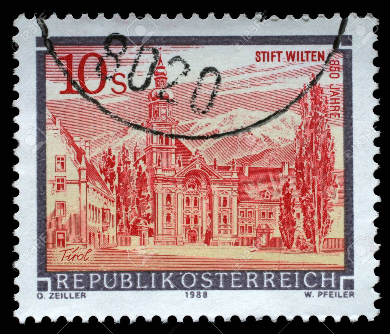 A stamp printed in Austria shows Wilten Abbey in Tirol from the series Monasteries and Abbeys in Austria, circa 1988 - 113515563