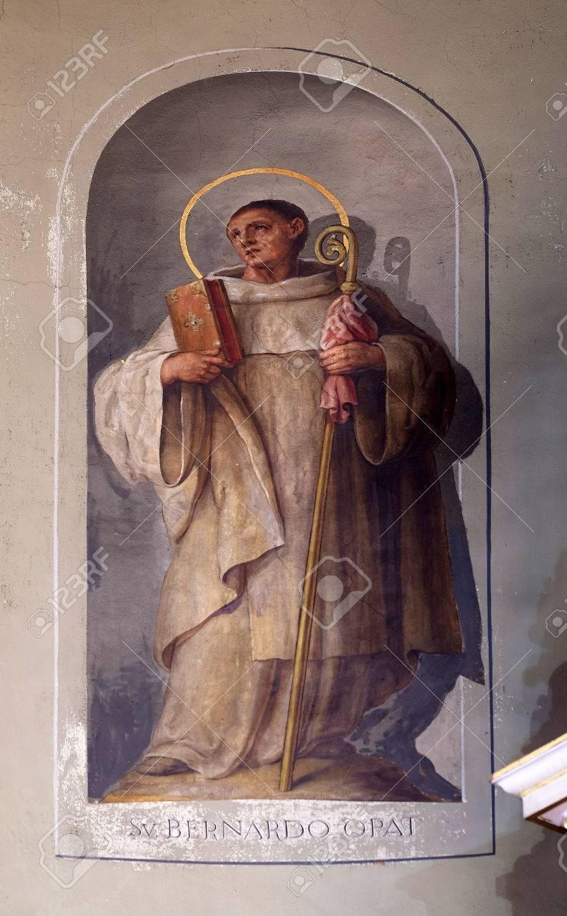 Sint Bernardus Van Clairvaux Fresco In De Basiliek Van Het Heilig Hart Van Jezus In Zagreb Kroatië