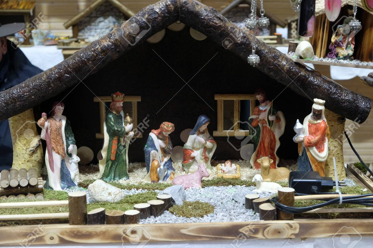 Christmas Crib On Stall With Decorations For Winter Holidays