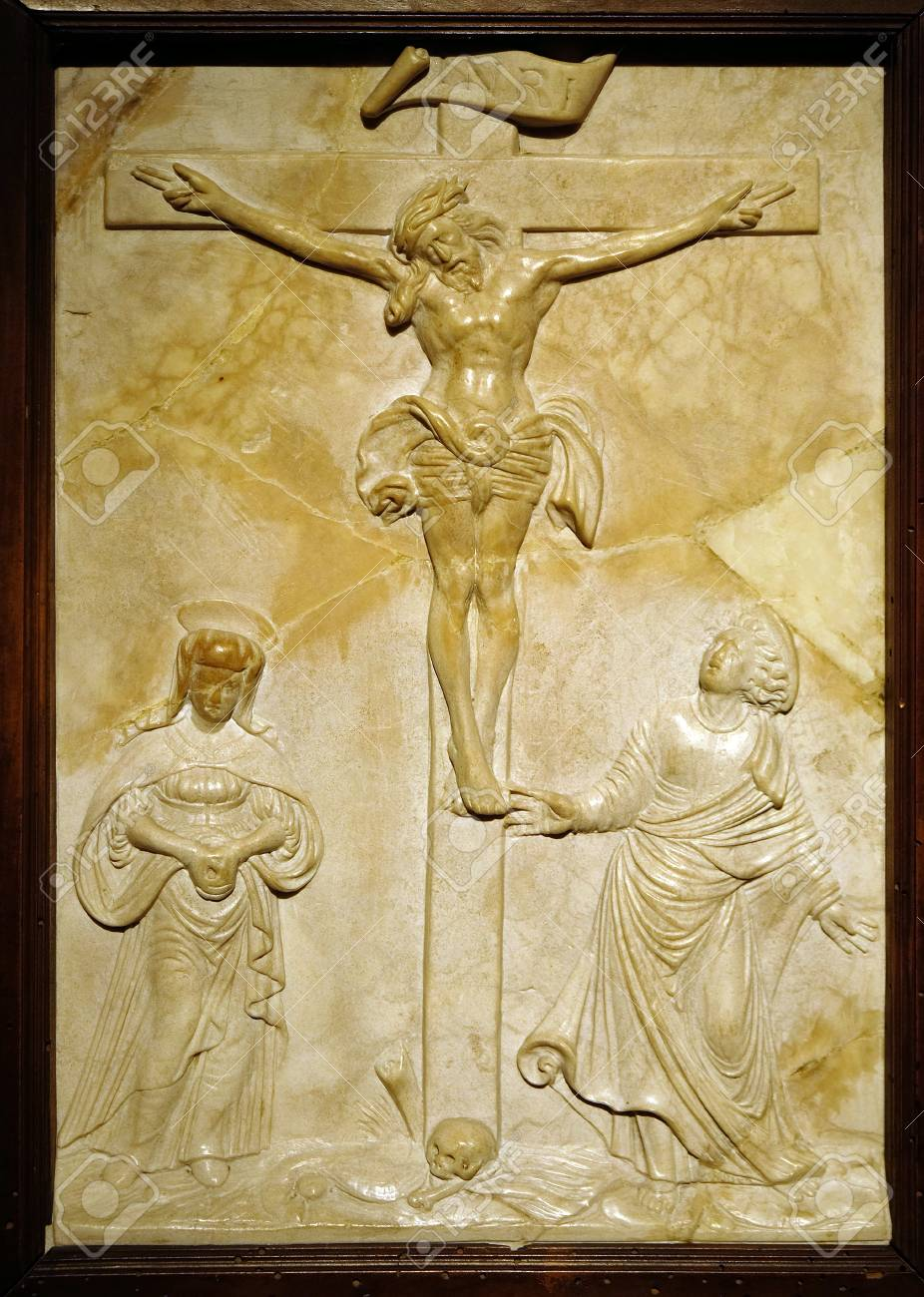 Crucifixion with Mary and Saint John by Sebastian Loscher, marble relief, 16 century, the Passion in Art from Mimara Museum in Zagreb, Croatia - 115893194