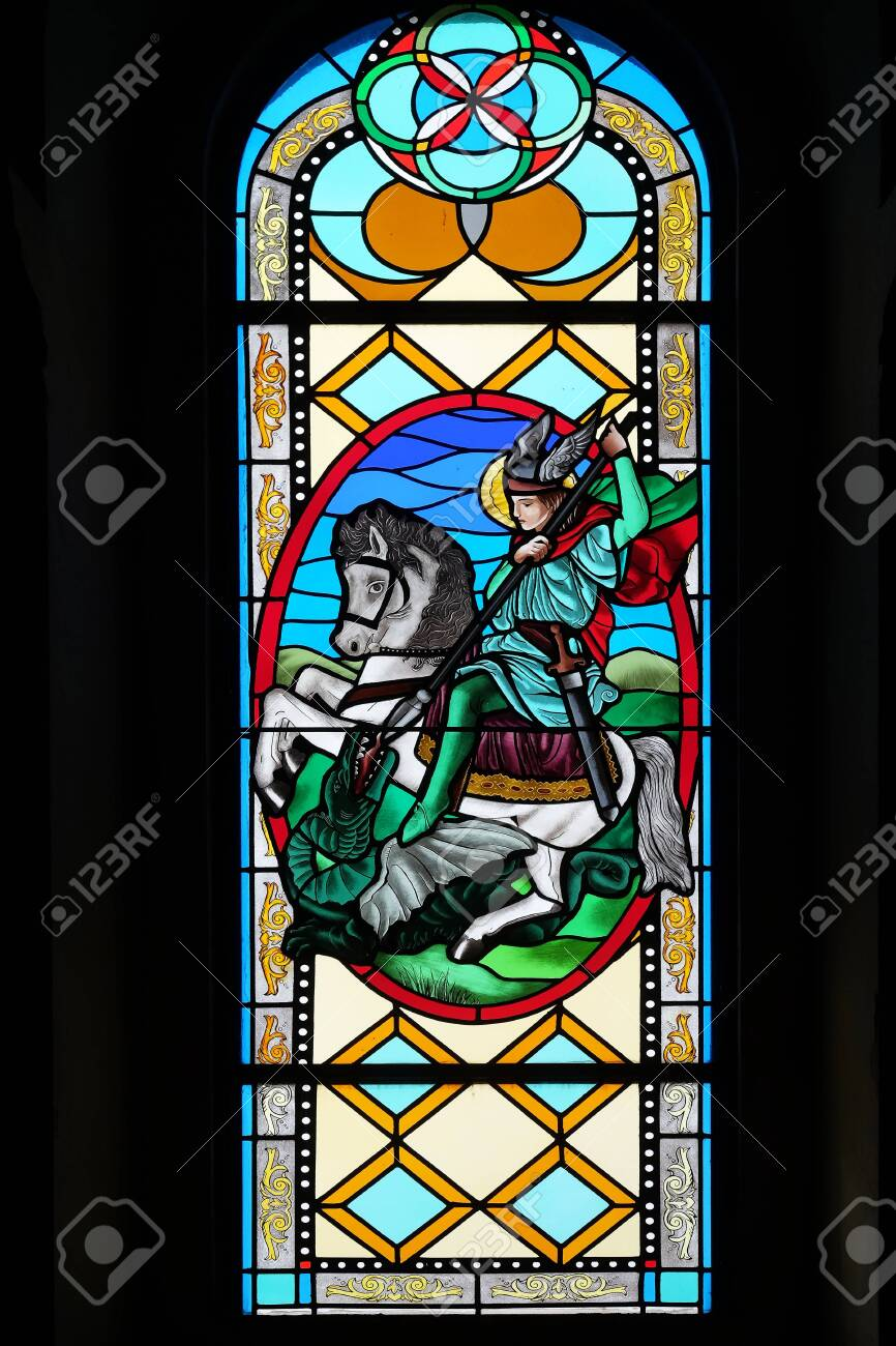 Saint George, stained glass window in the Shrine of the Our Lady Queen of Peace in Hrasno, Bosnia and Herzegovina - 136576799