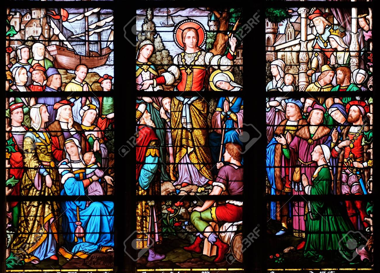 Apostolate of St. Mary Magdalene, stained glass window in Saint Severin church in Paris, France - 137074590
