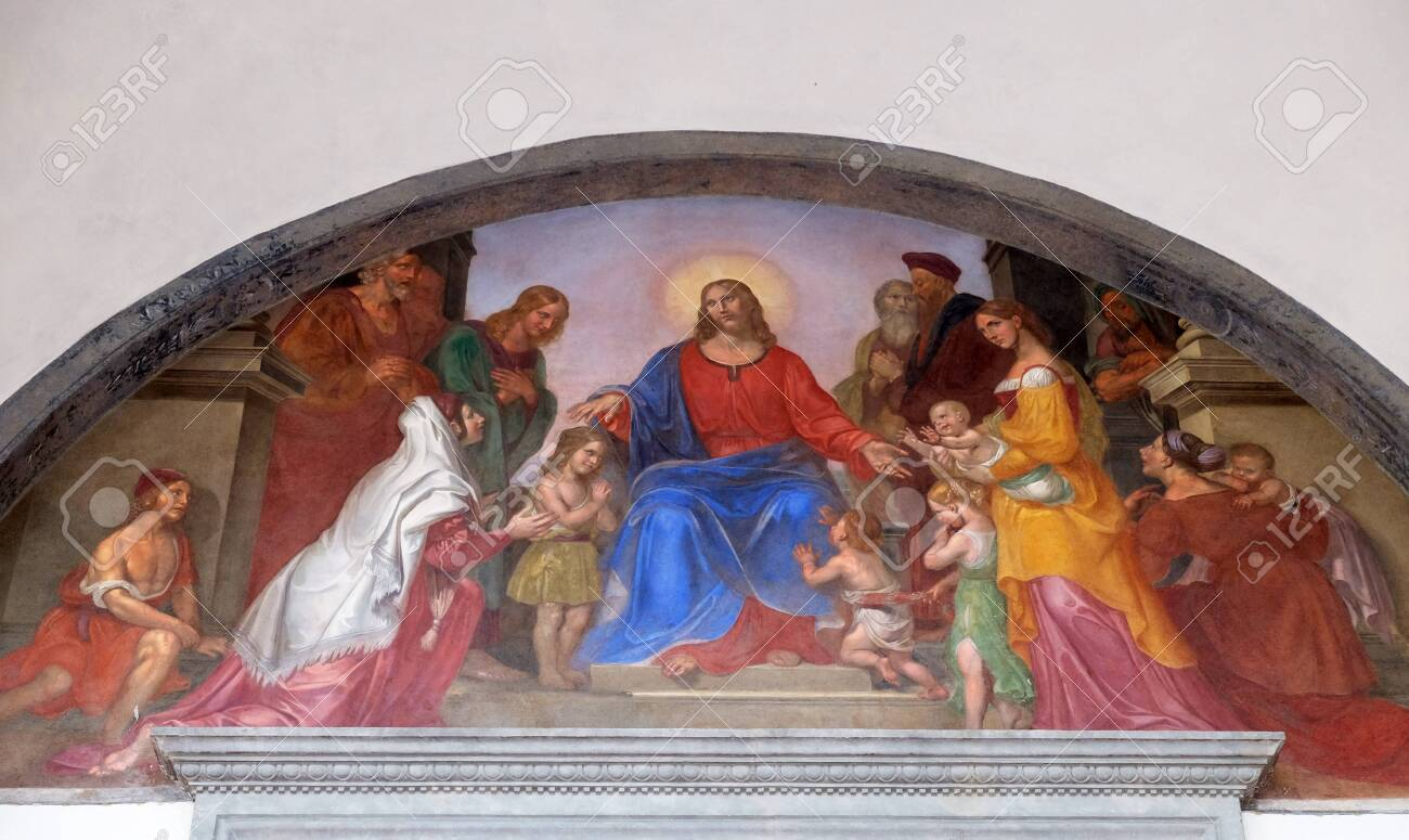 Jesus blesses the children, frescoed lunette, Ospedale degli Innocenti - Exterior arcade, Florence, Italy - 137057673