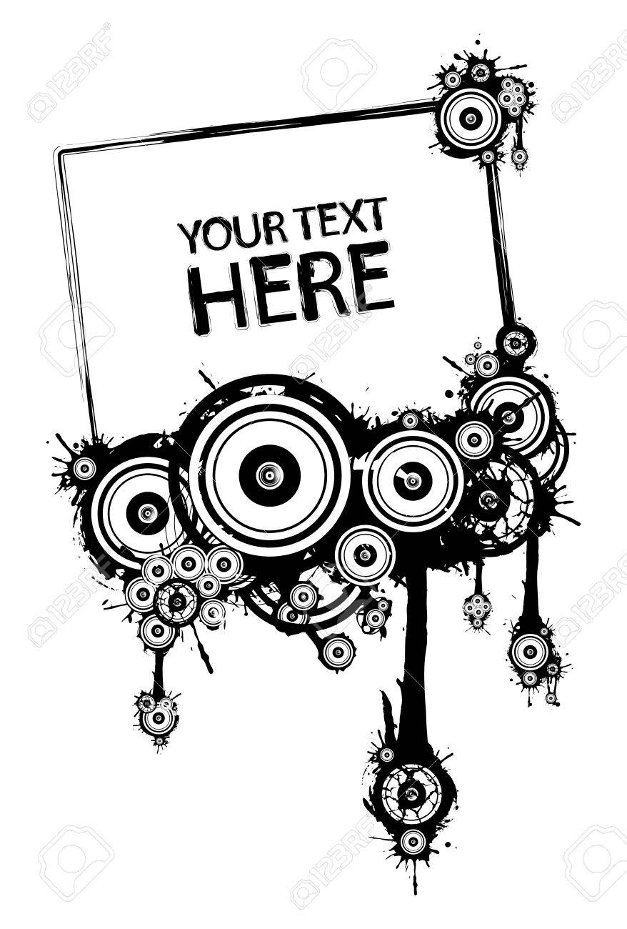 Grunge frame from shapes, many speakers from black and white Stock Vector - 4562968