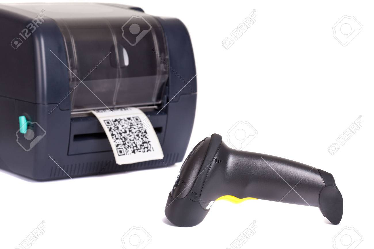 Label Printer and Wireless Barcode Scanners, isolated on white