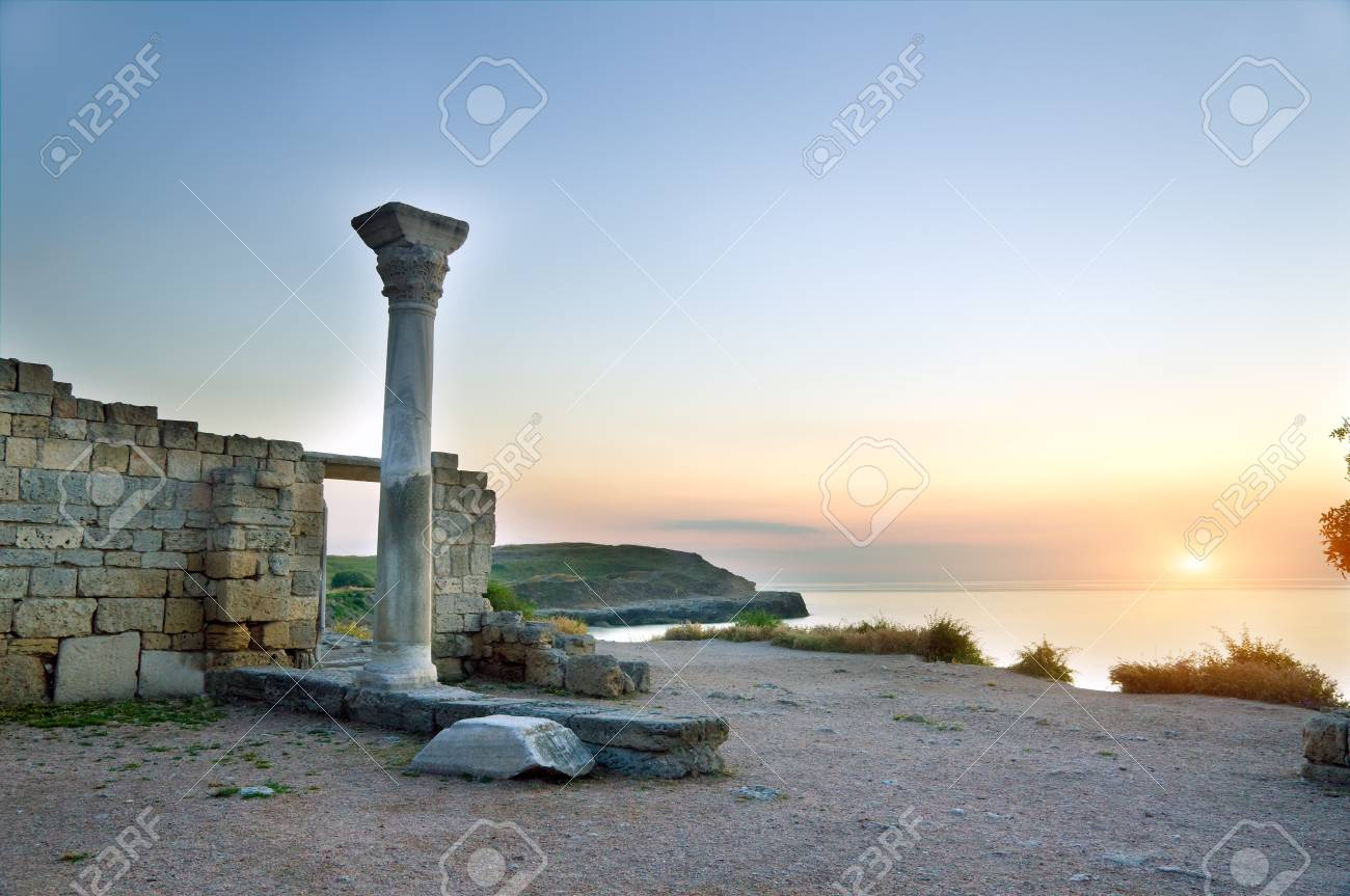 Ruins on sunset. Nature composition. Stock Photo - 11304931
