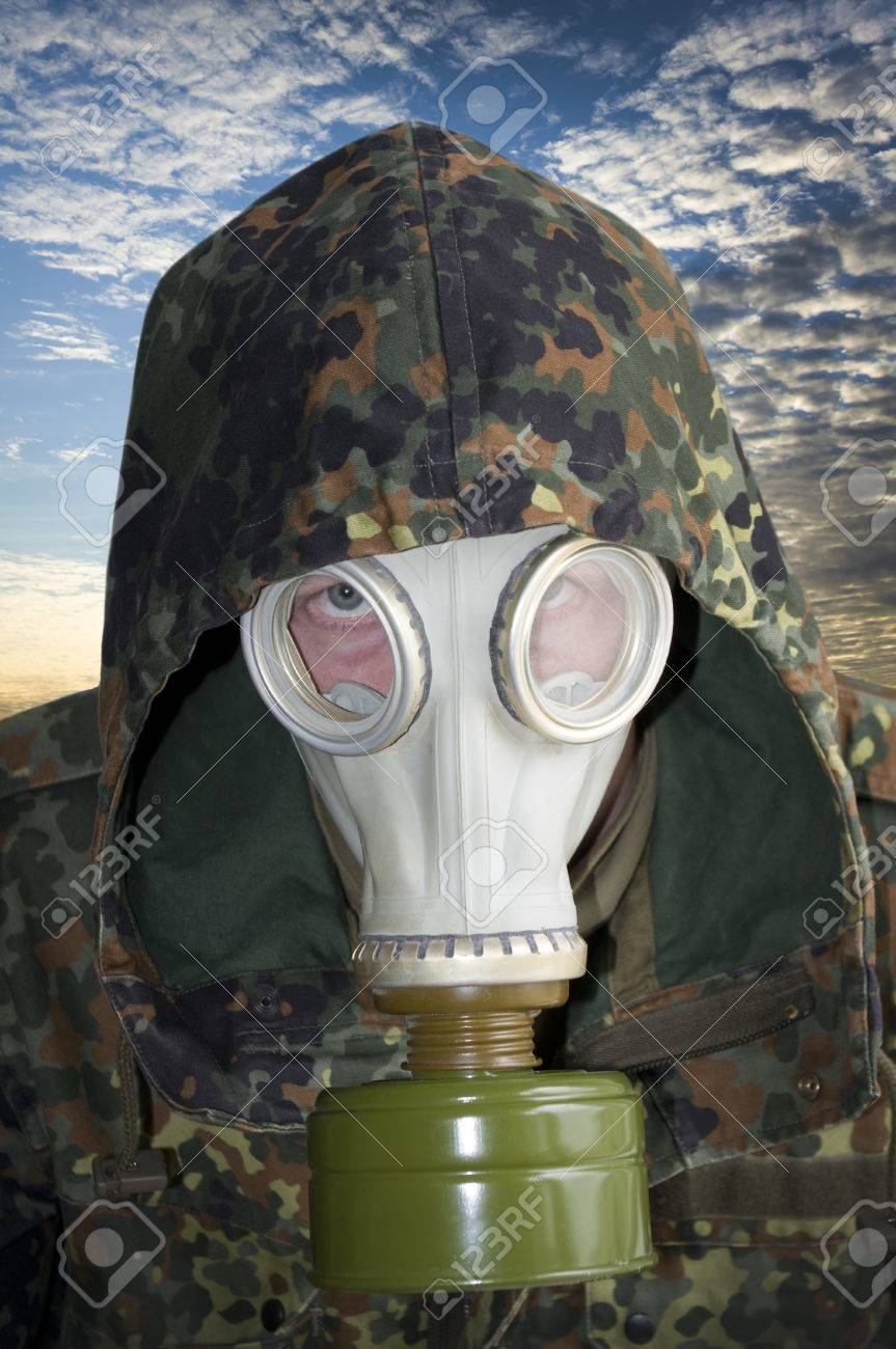 Portrait of man in gas mask Stock Photo - 11604014
