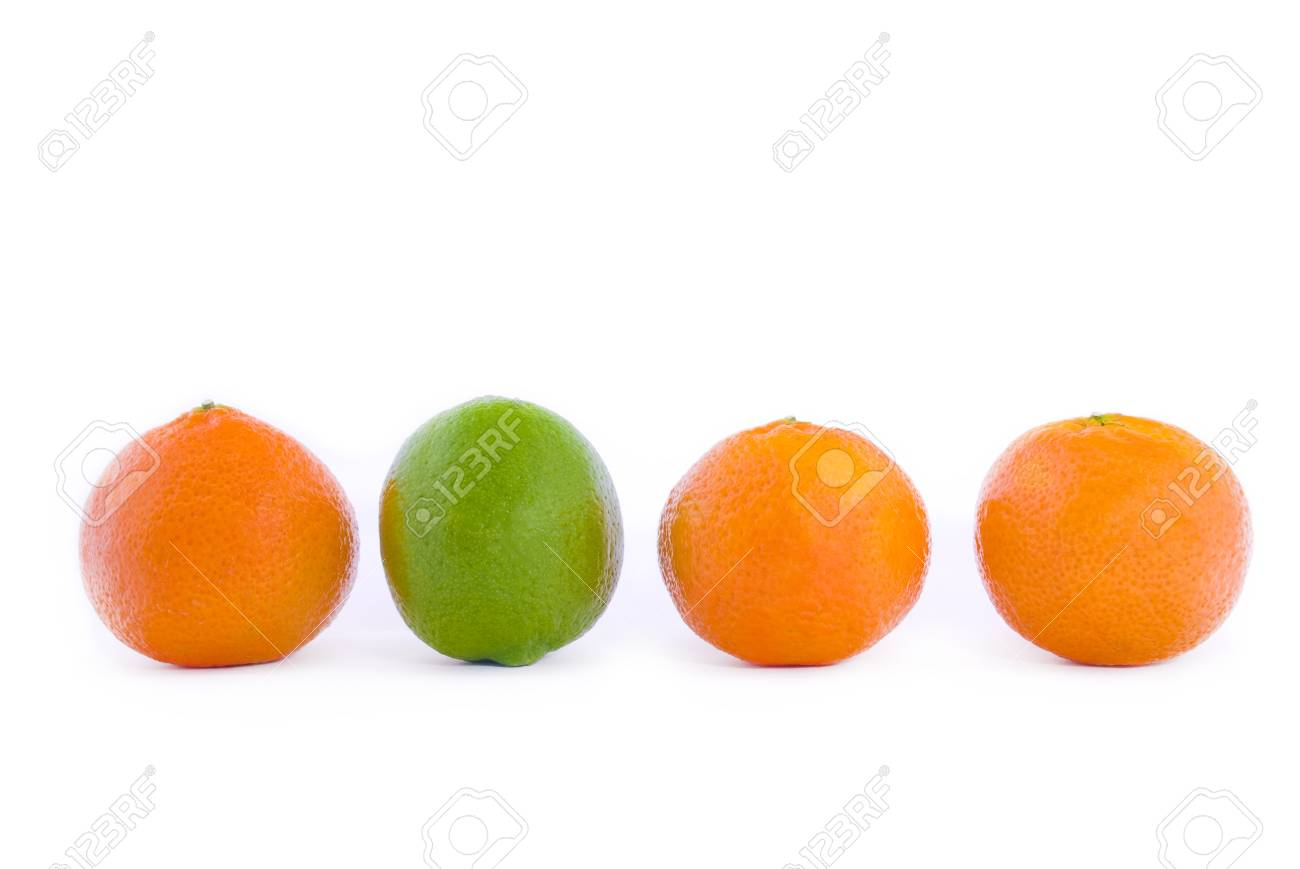 Tangerines on a white background Conceptual design Stock Photo - 13264397