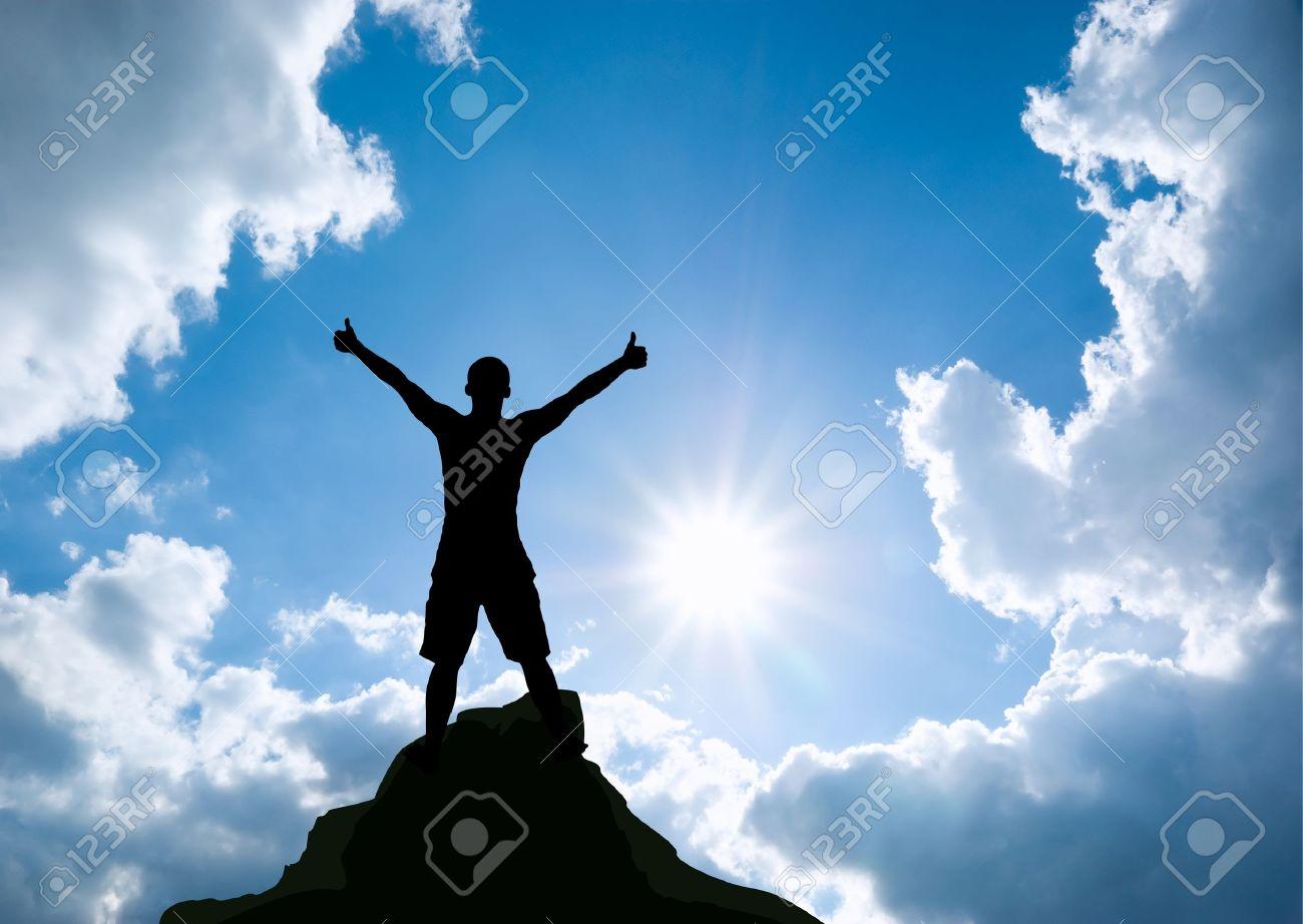 Man on top of mountain  Conceptual design Stock Photo - 13264394