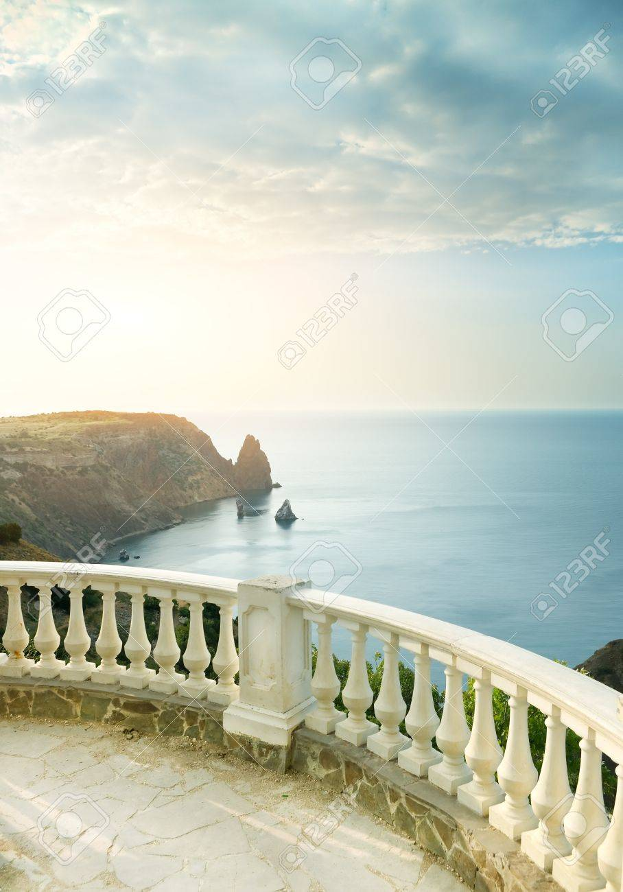 Kind on sea from a stone balcony Stock Photo - 20162139