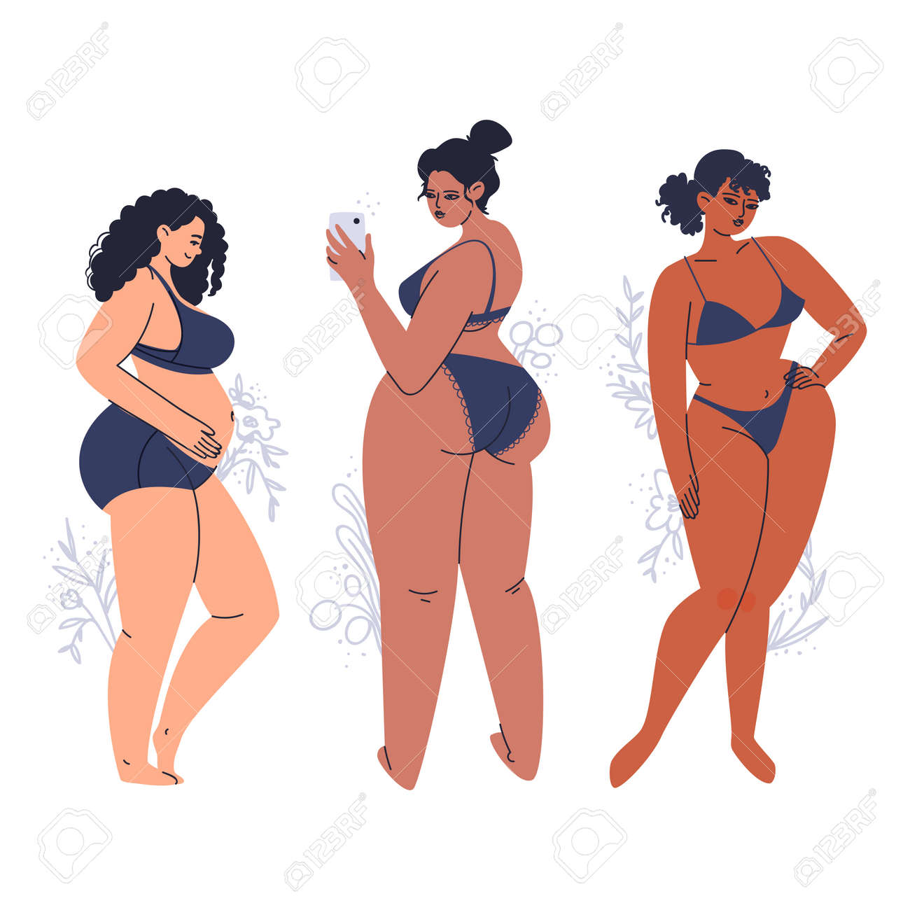 Young tanned women posing in lingerie. A variety of full-bodied adult girls in dark swimwear. Hand-drawn plus size brunettes with flowers. Vector stock illustration isolated on white background. - 164388190