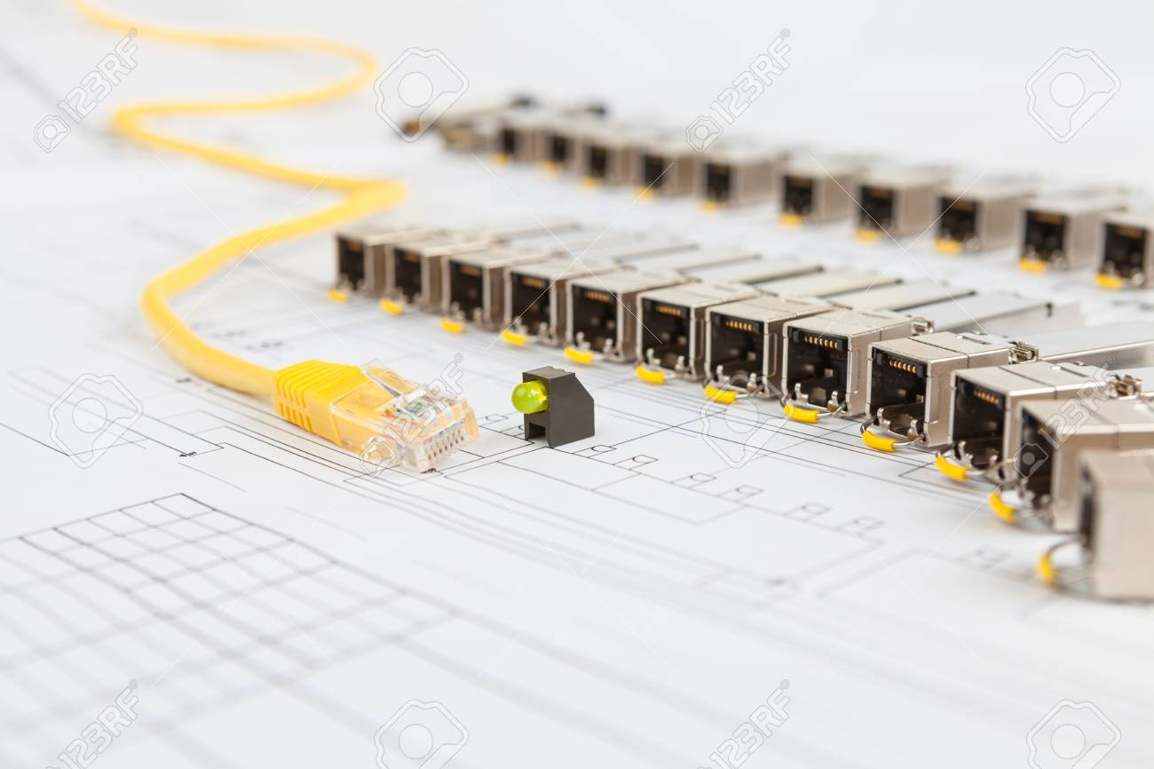 Electric gigabit sfp modules for network switch yellow patch electric gigabit sfp modules for network switch yellow patch cord and green diod on the malvernweather Image collections