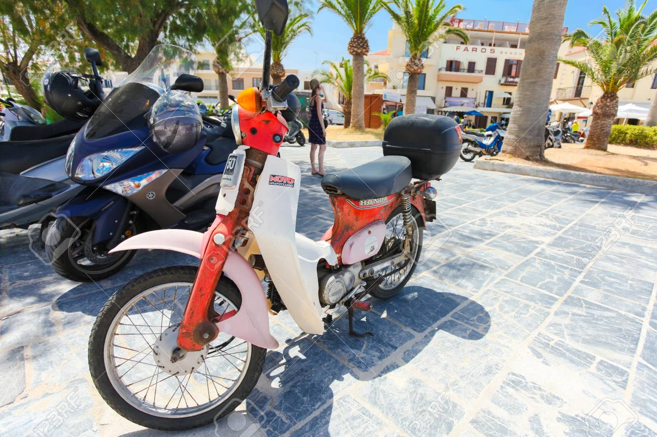 Rethymno Island Crete Greece June 23 2016 Japanese Scooter Stock Photo Picture And Royalty Free Image Image 69201219