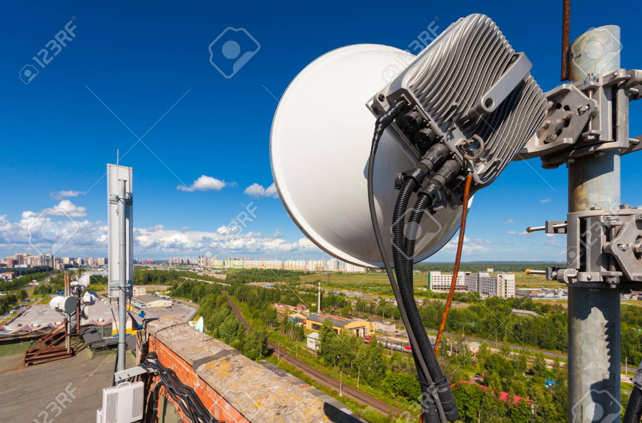 Telecommunication Tower With Wireless Communications Systems.. Stock ...