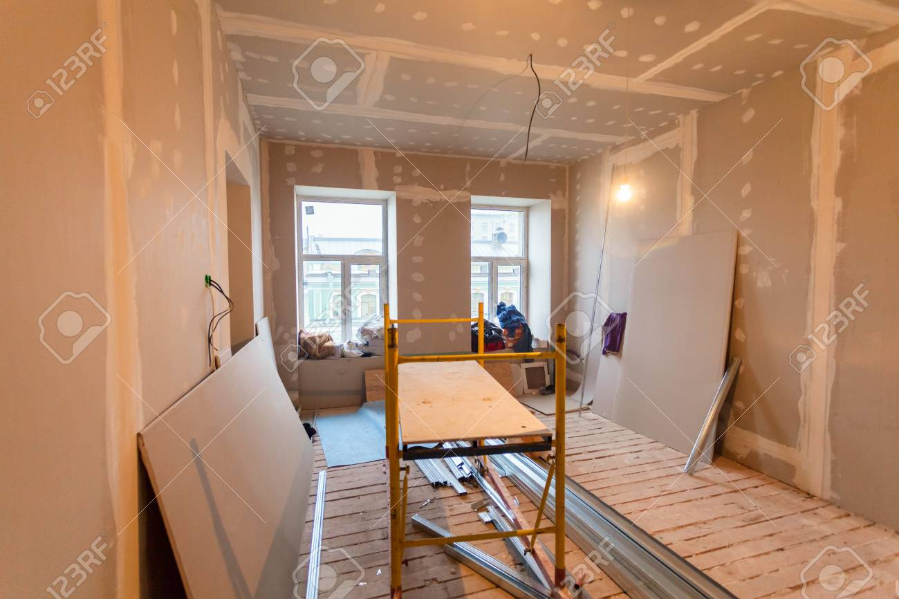 Material for repairs in an apartment is under construction, remodeling, rebuilding and renovation. Making walls from gypsum plasterboard or drywall. - 86267551