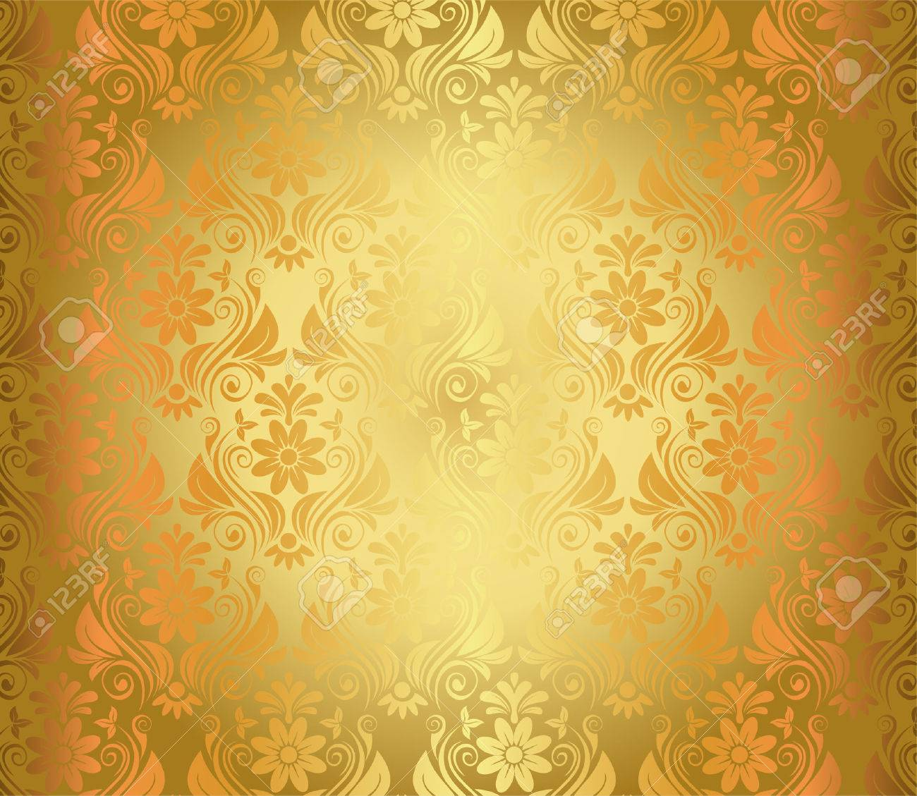 Luxury Seamless Golden Floral Wallpaper Vector Stock