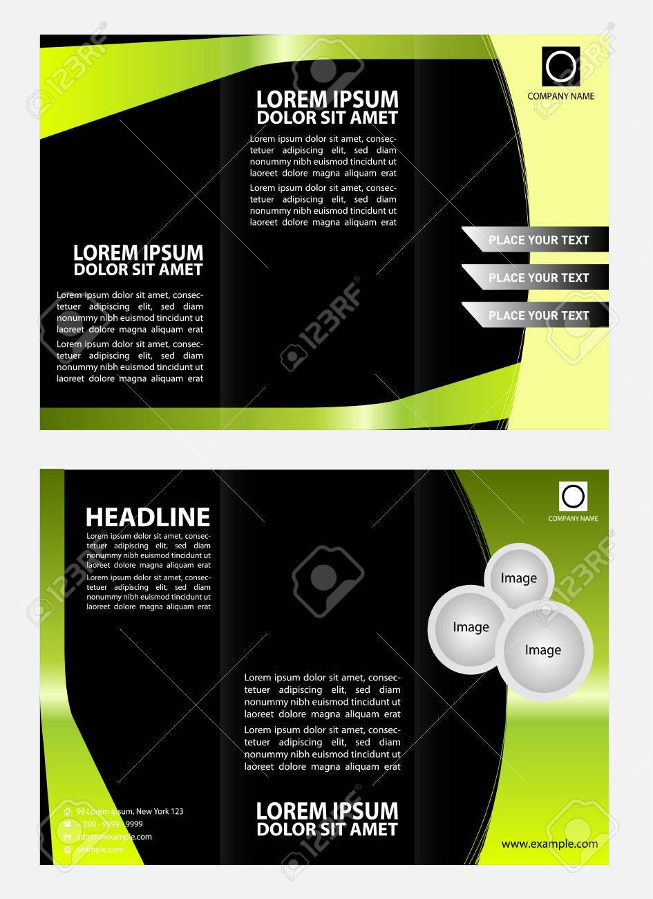 Green Black Brochure Tri Fold Template Royalty Free Cliparts ...