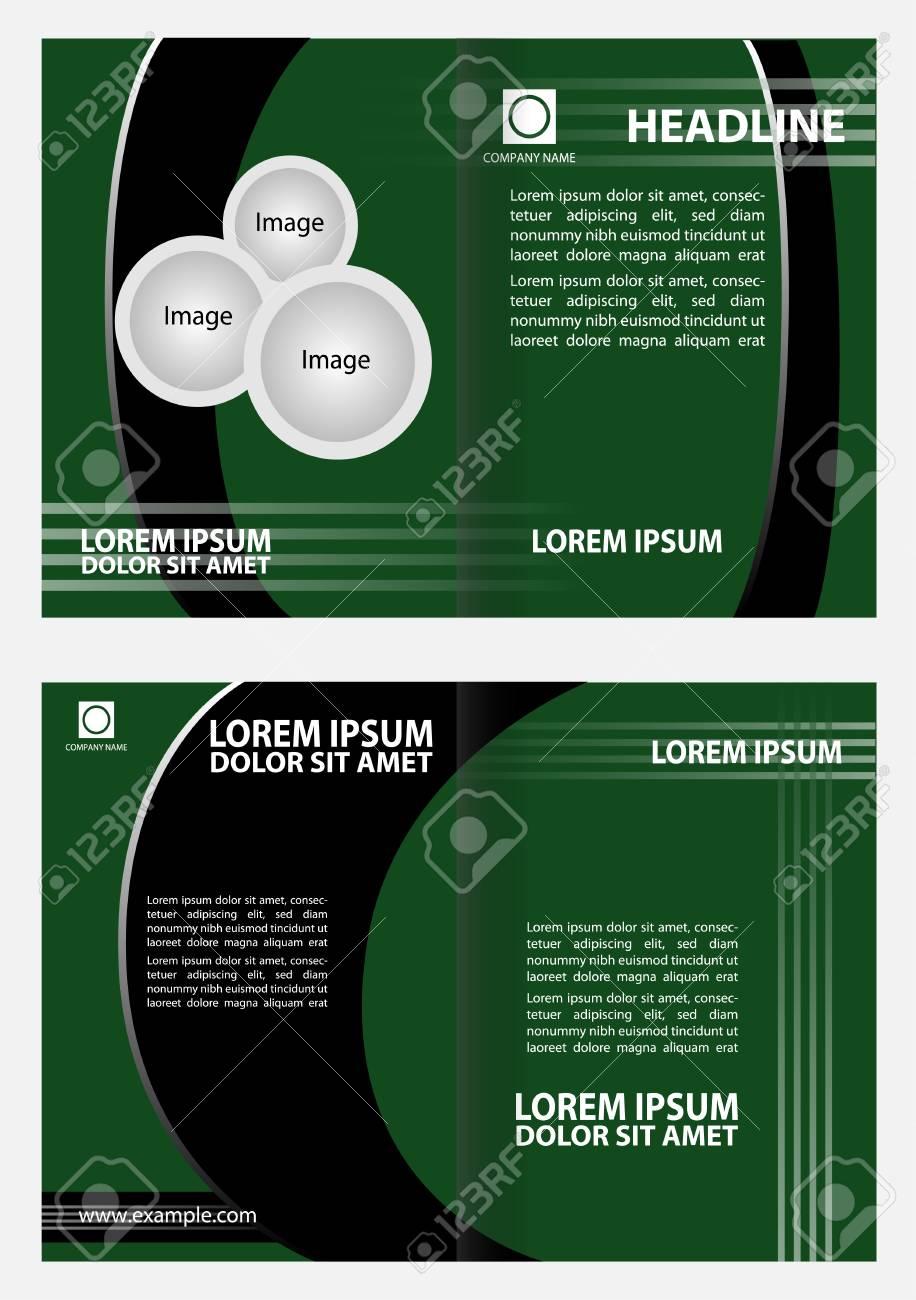 Bi-fold Broschüre Template-Design Mit Grüner Farbe Lizenzfrei ...