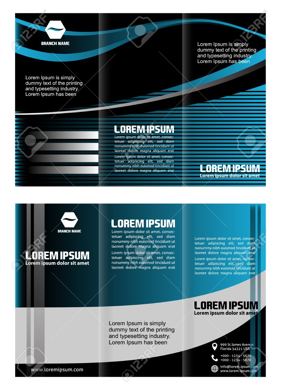 Trifold Technology Style Brochure Layout Design Template Royalty - Technology brochure template
