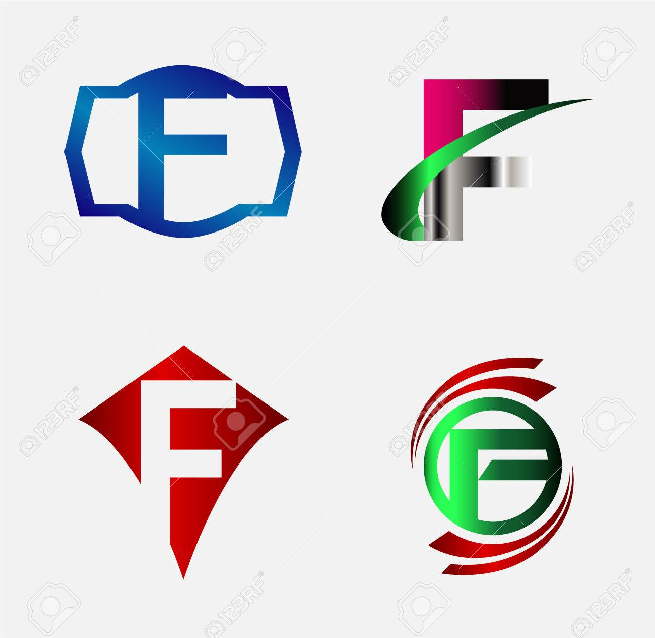 Corporate Logo F Letter Company Vector Design Template Set Royalty ...