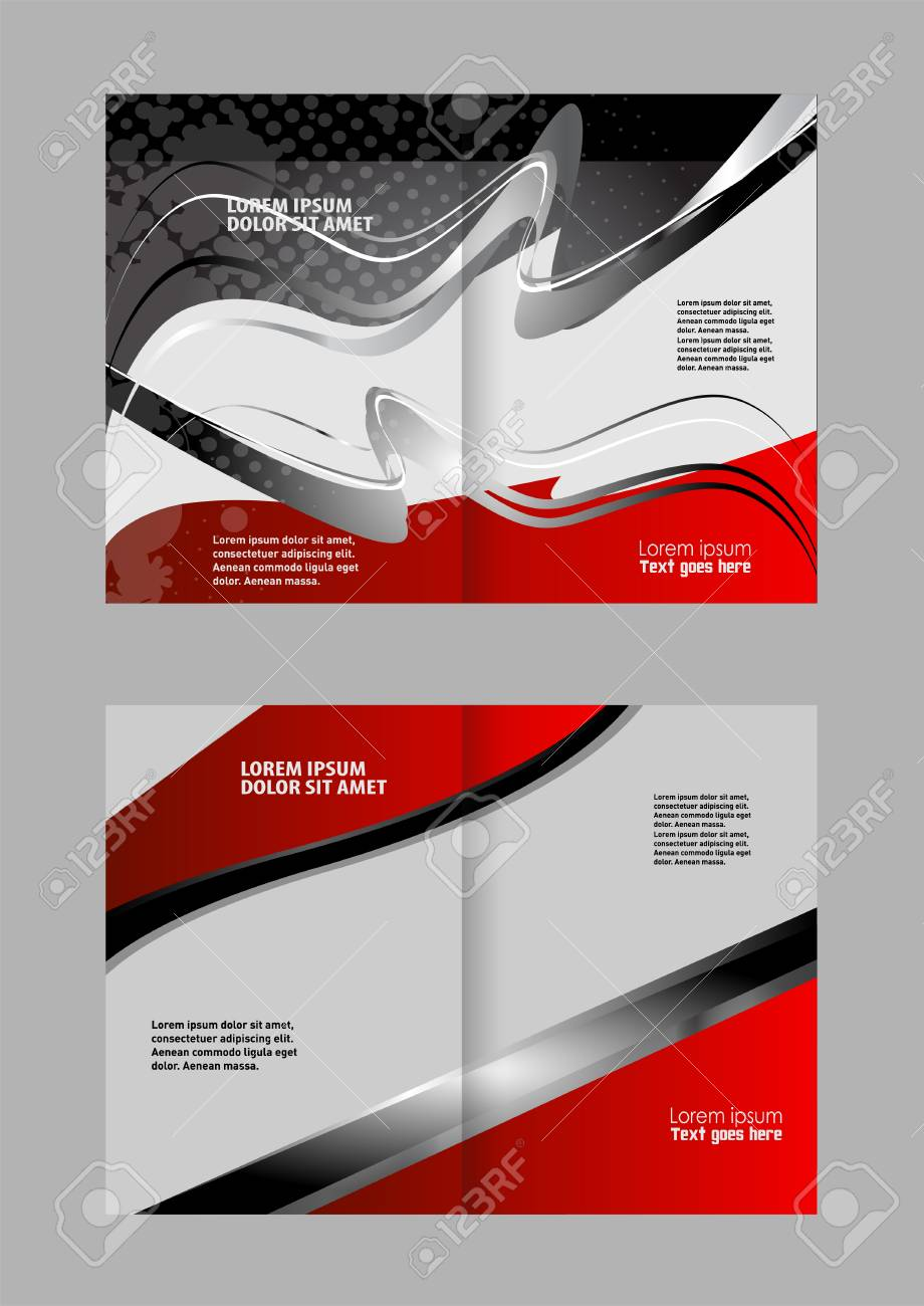 Vector Modern Bi Fold Brochure Design Template With Red Background