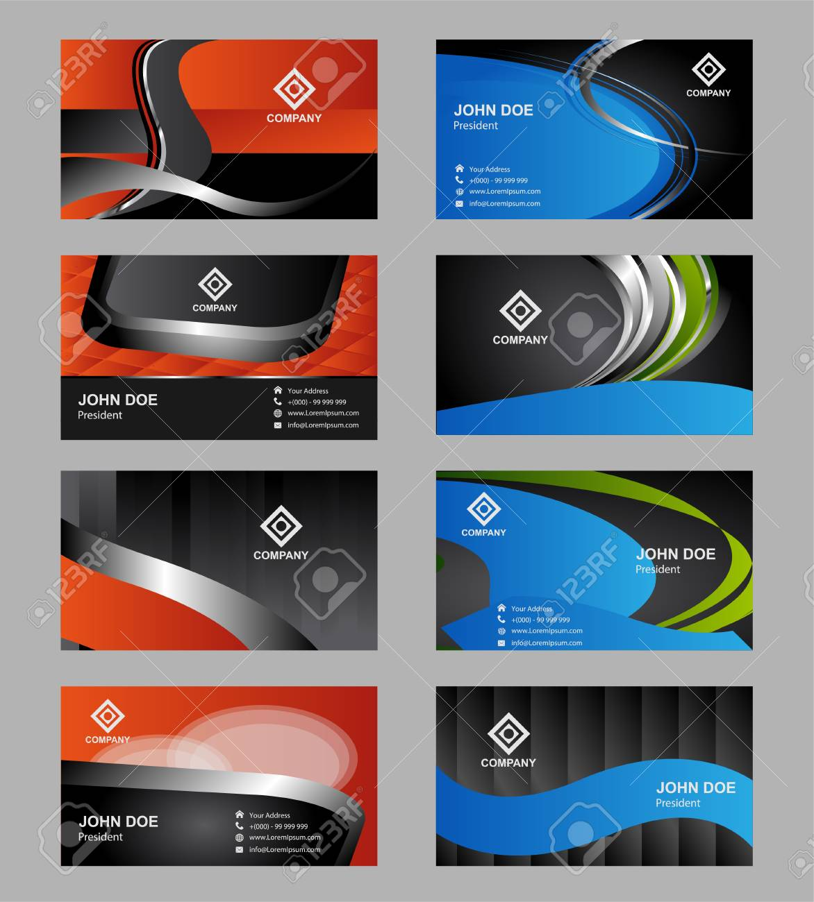 Set Of 8 Modern Business Card Templates Business Cards With