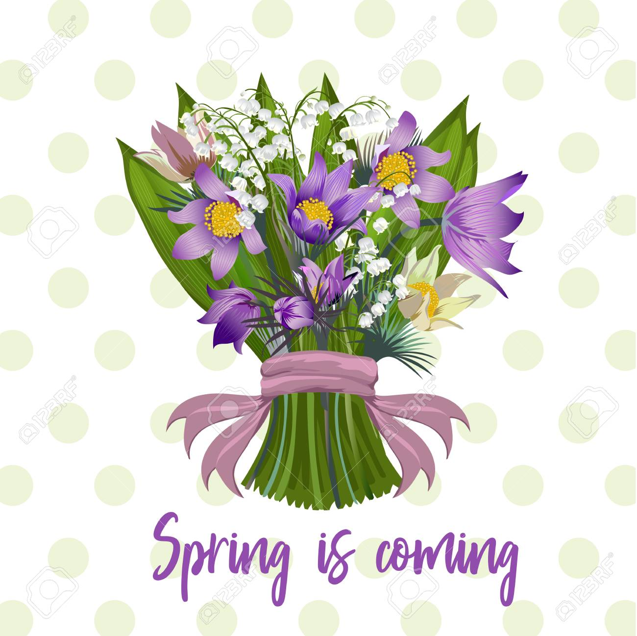A Bouquet Of Spring Flowers Vector Illustration. Royalty Free ...