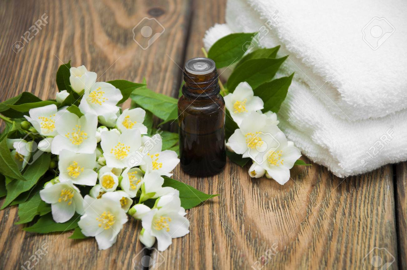 The Essential Oil Of Jasmine On Background Spa Composition Stock