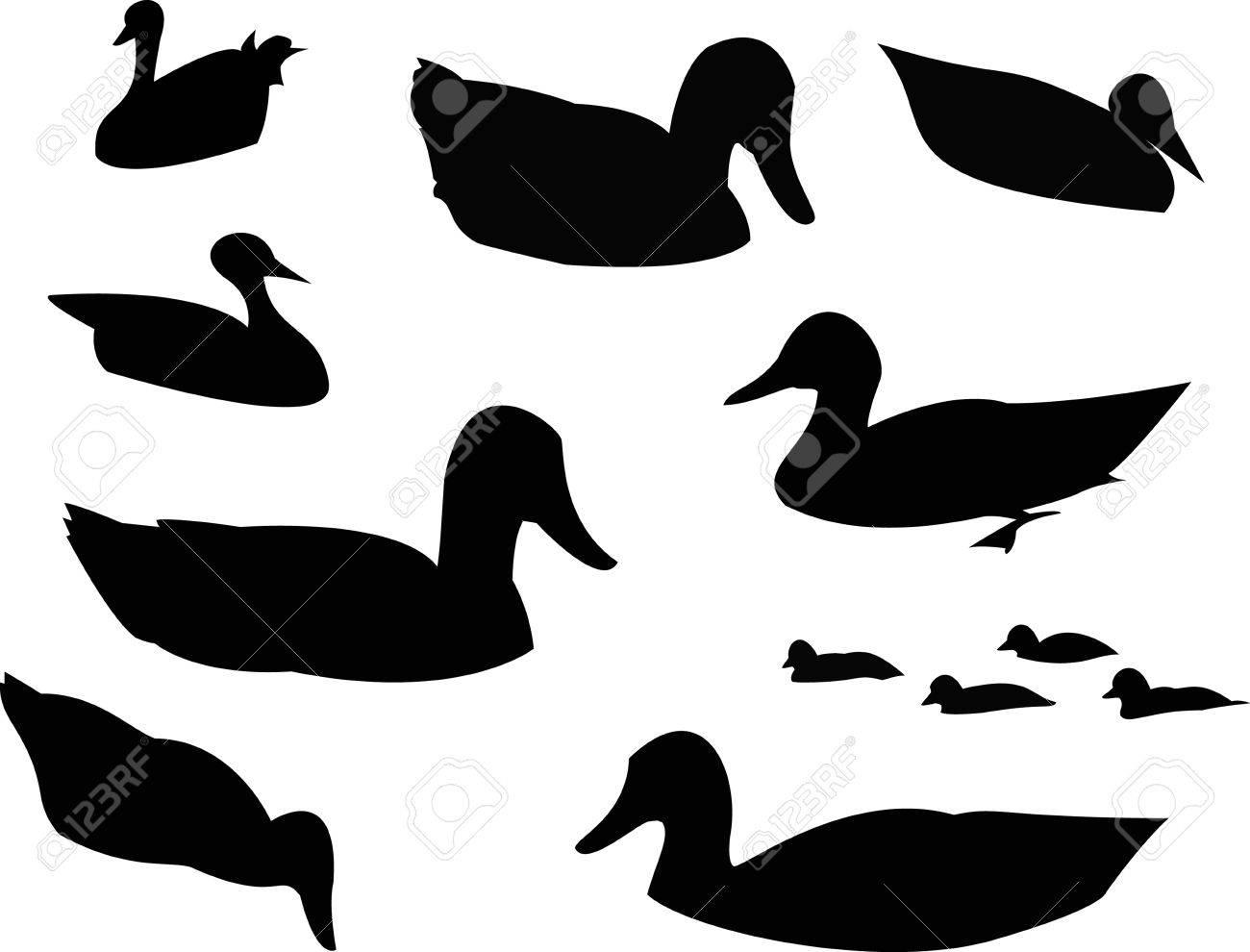 アヒルのシルエット動物クリップアートのイラスト素材ベクタ Image