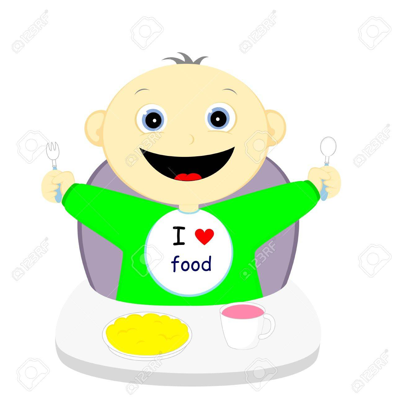 hungry child happy upcoming meal - 22149927