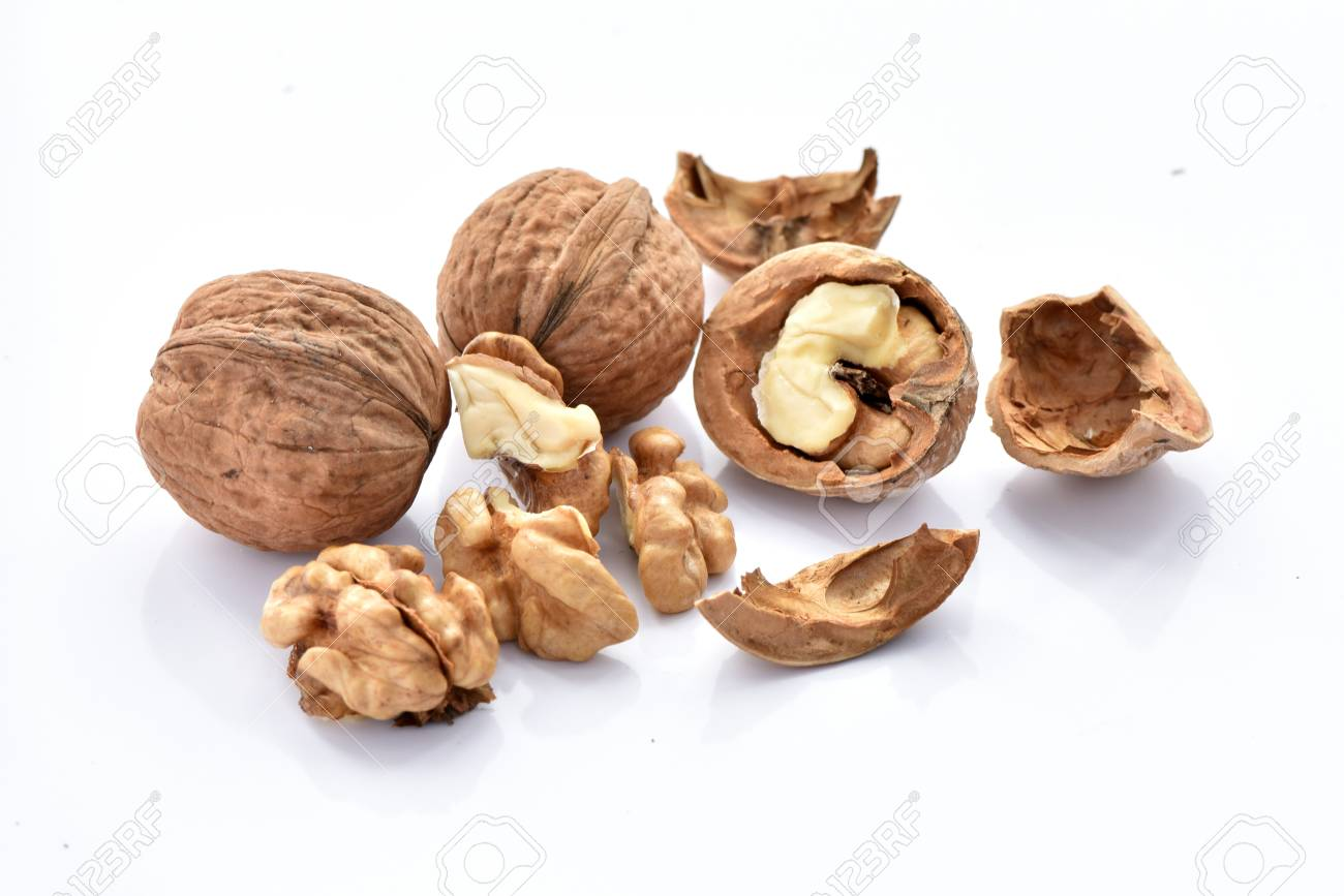 Walnuts on a white background. - 119125327