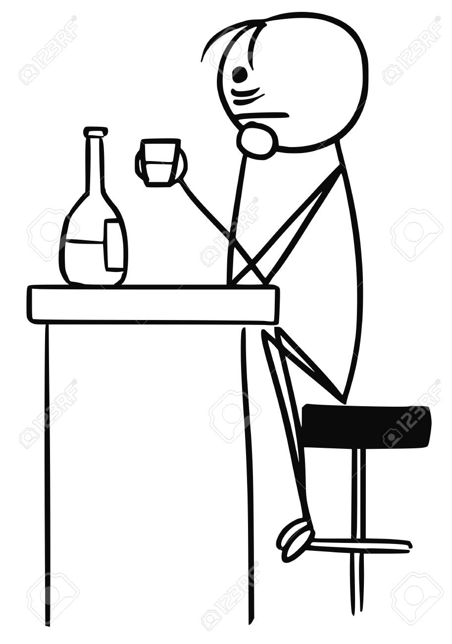 Cartoon vector stick man sad men in depression is drinking sitting