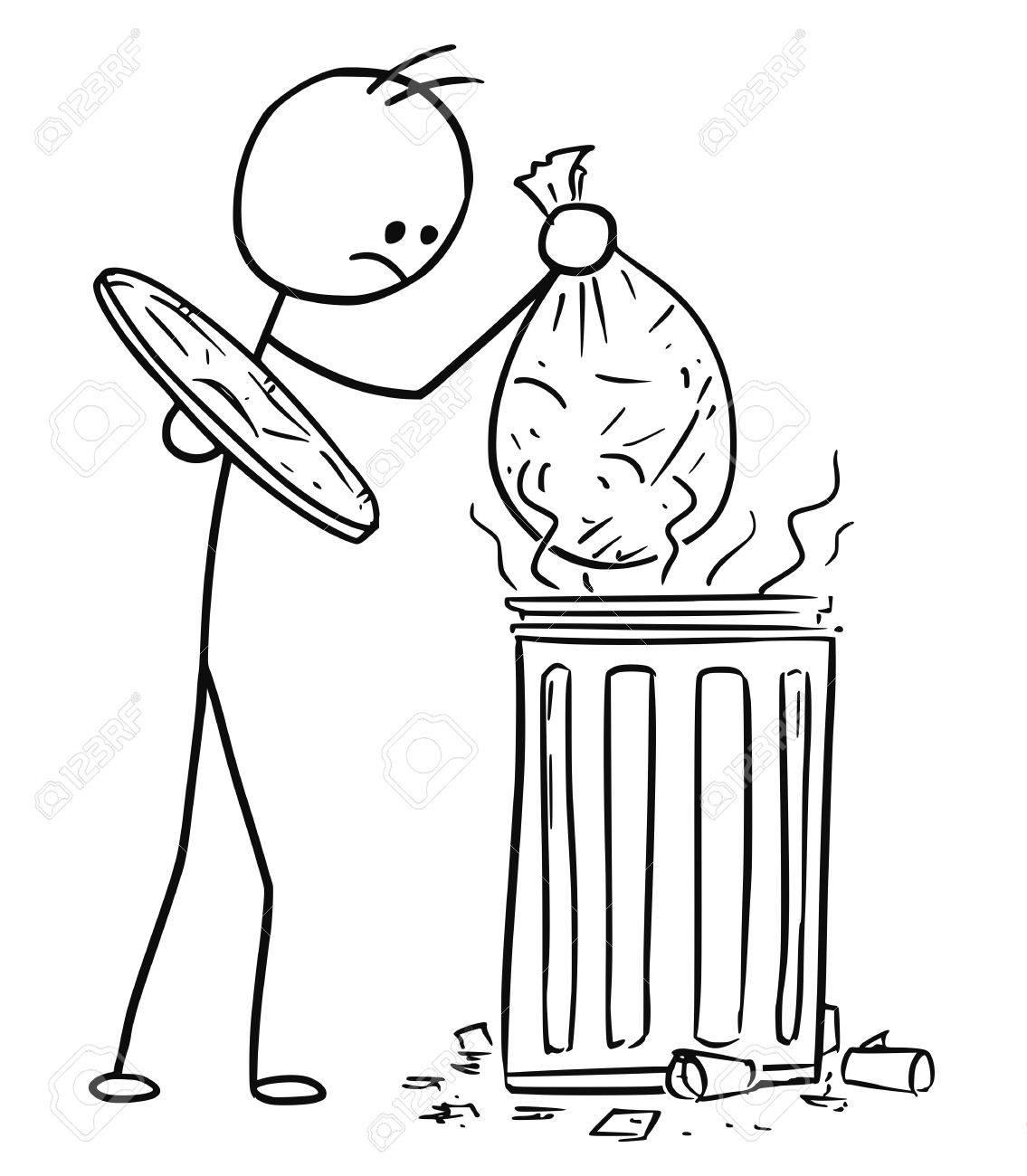Cartoon Stickman Männer Werfen Die Tasche Mit Müll Müll In