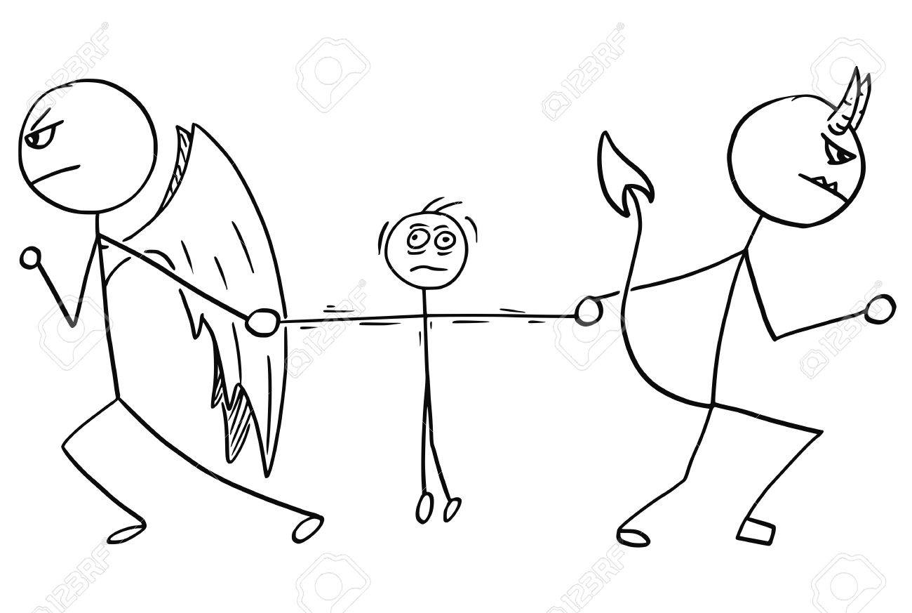 Cartoon vector of angel and devil fighting wrestling for the man - 80491795