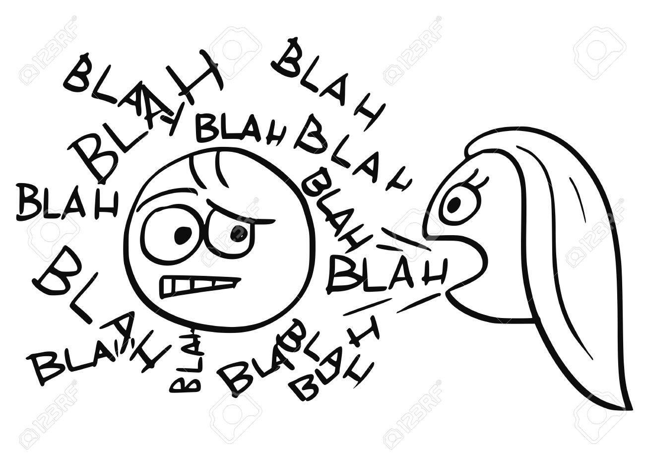 Cartoon Vecteur D Un Homme Malade Entoure De Mots Blah Venant De La