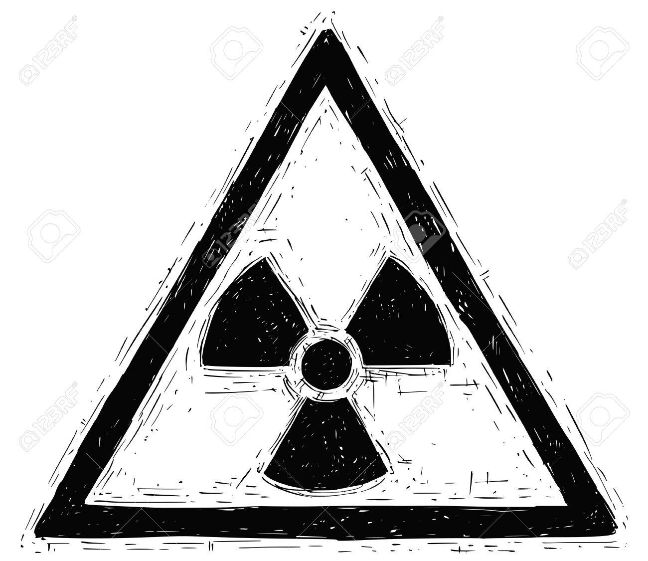 Vector doodle hand drawing illustration of nuclear radiation