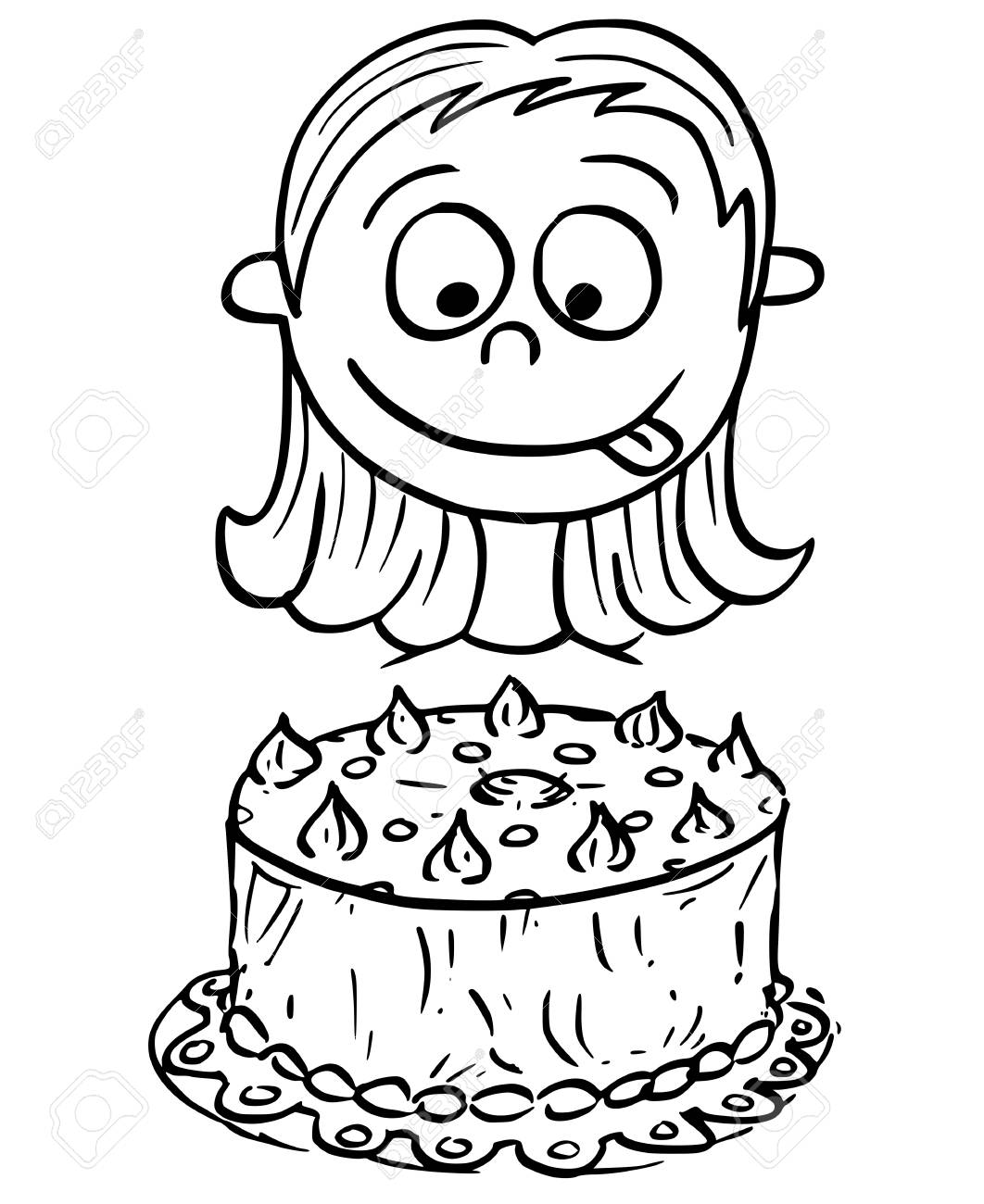 Fabulous Hand Drawing Cartoon Vector Illustration Of Girl Looking At Personalised Birthday Cards Sponlily Jamesorg