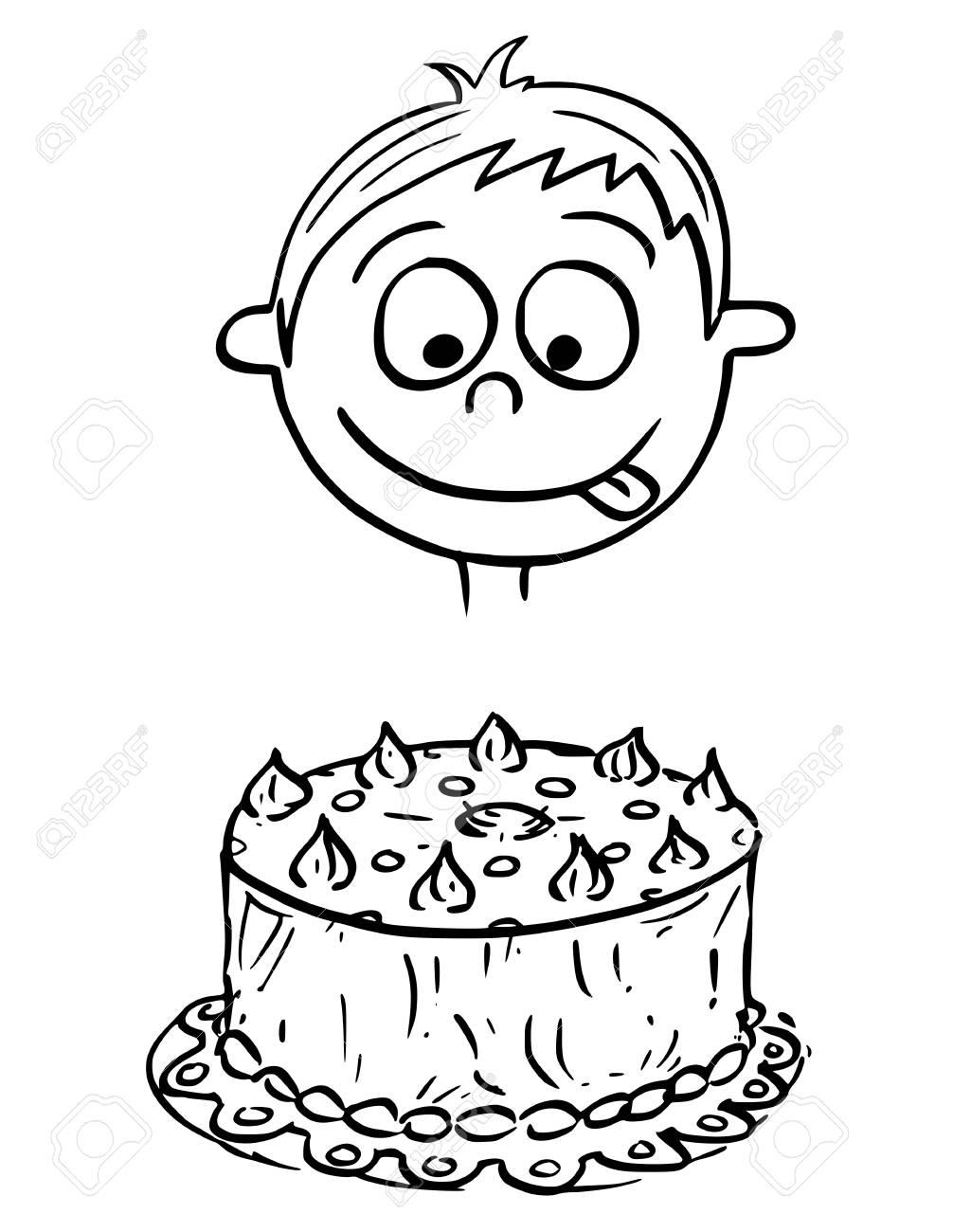 Hand Drawing Cartoon Vector Illustration Of Boy Looking At Birthday