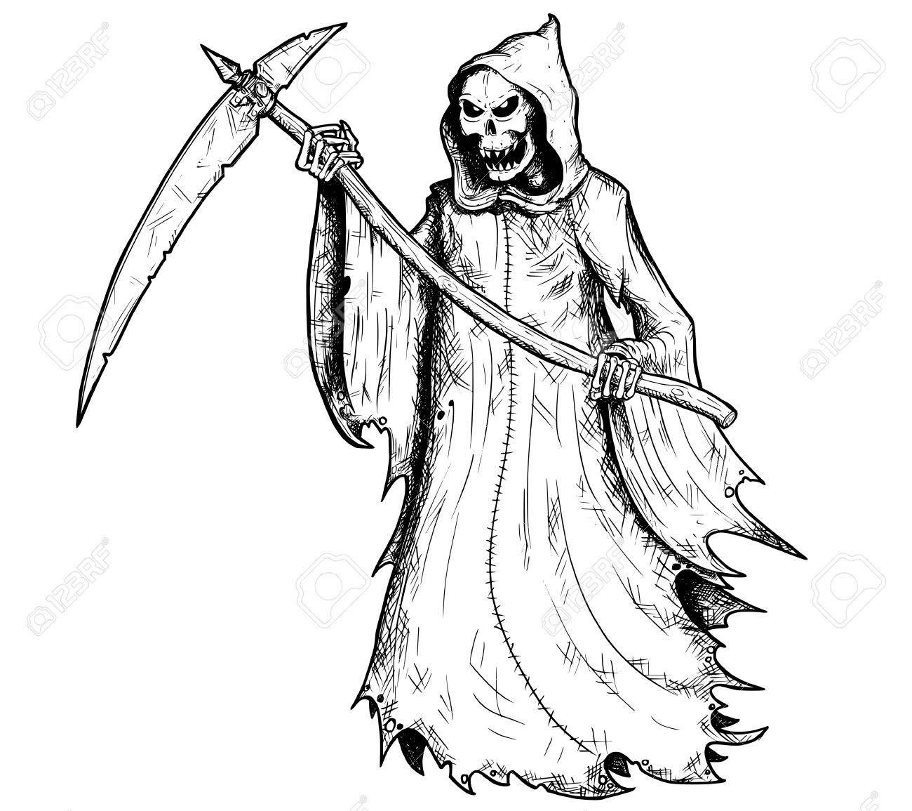 Squelette Dessin Halloween.Main Dessin Illustration Halloween Grim Reaper Squelette Humain à Faux Personnification De Mort