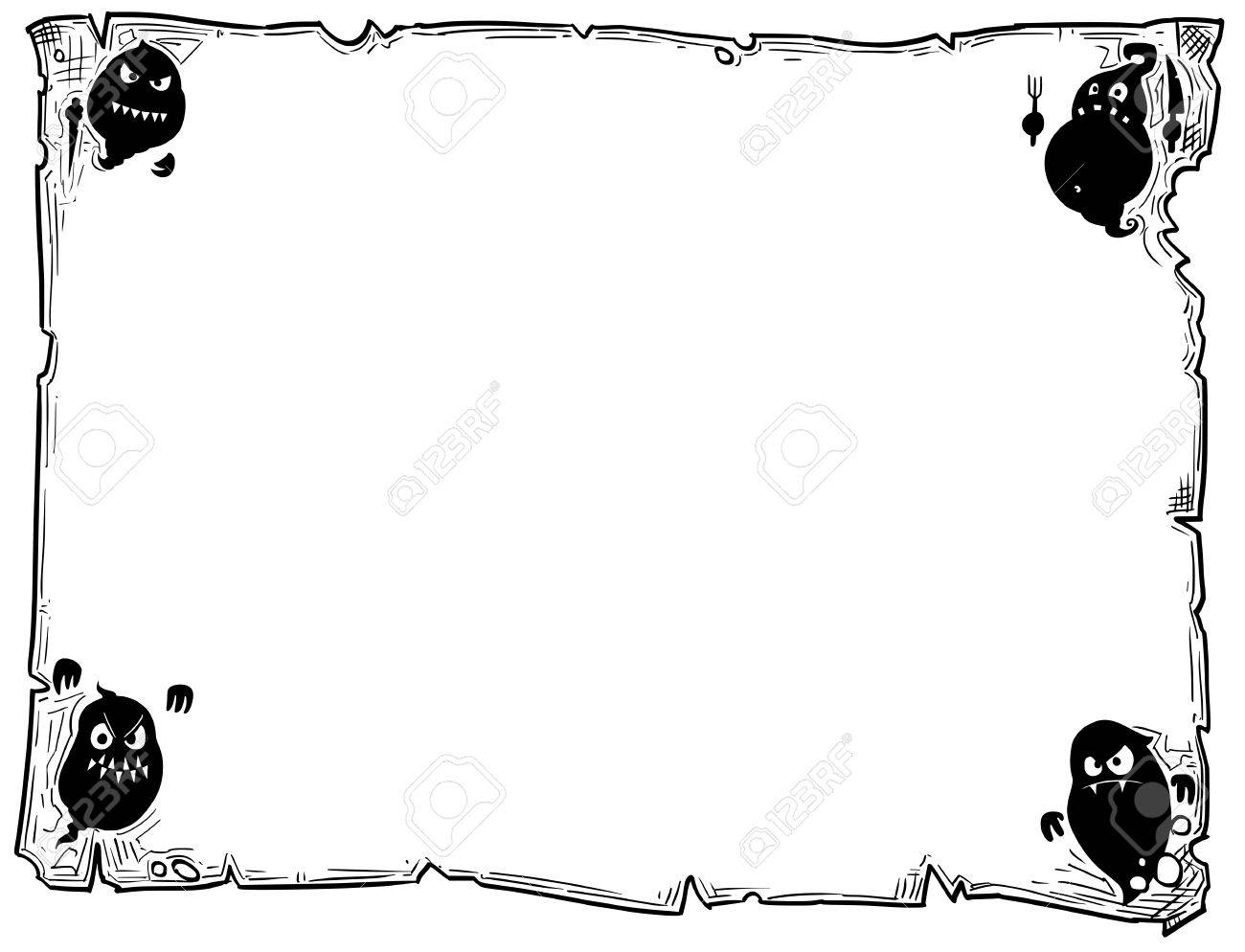 hand drawing cartoon halloween frame scroll sheet of parchment with ghost silhouettes illustrations stock vector - Halloween Sheet