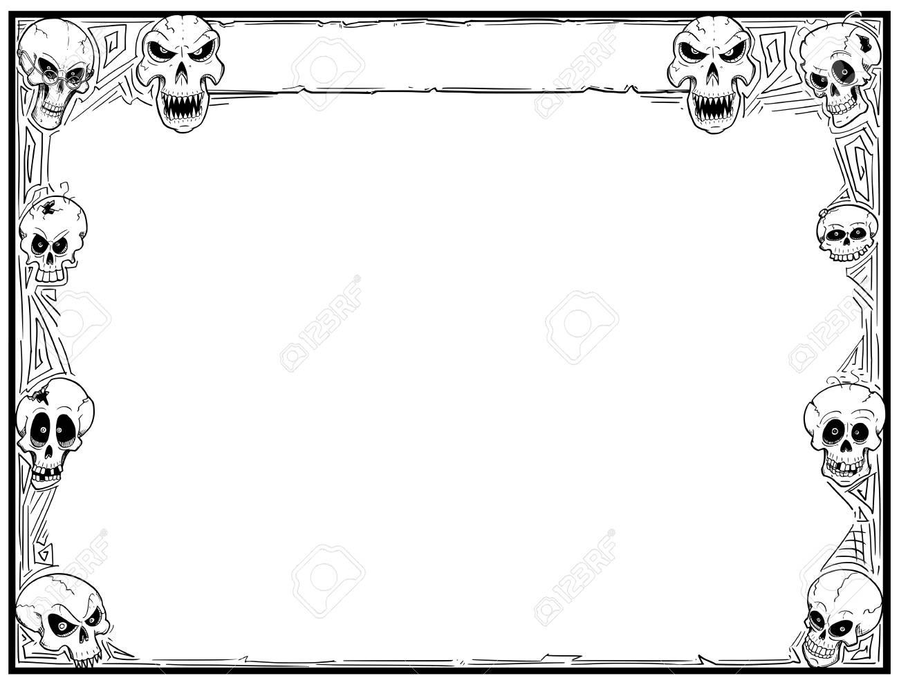 Hand Drawing Cartoon Halloween Frame With Skull Illustrations ...