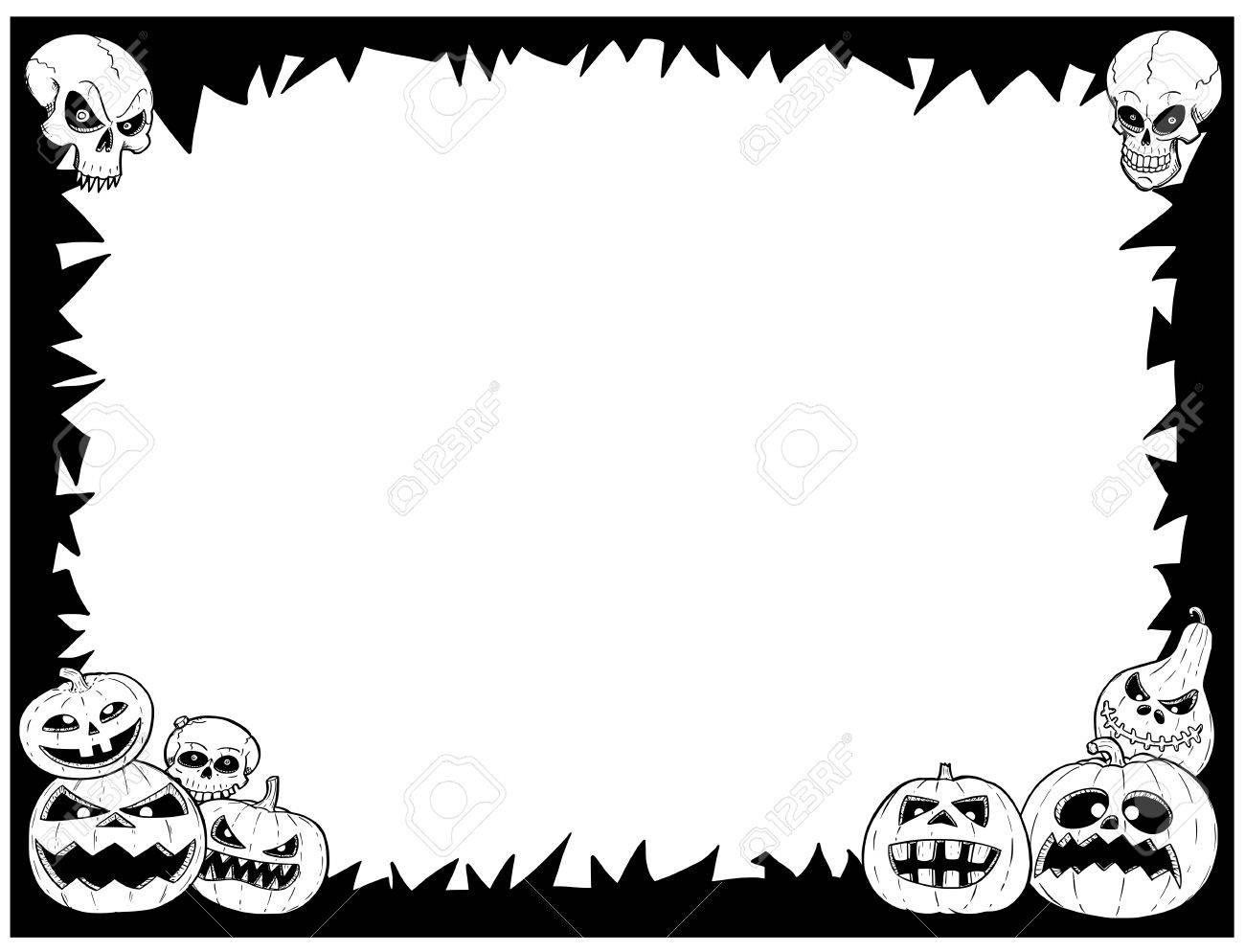 Hand Drawing Cartoon Halloween Frame With Skull And Pumpkin ...