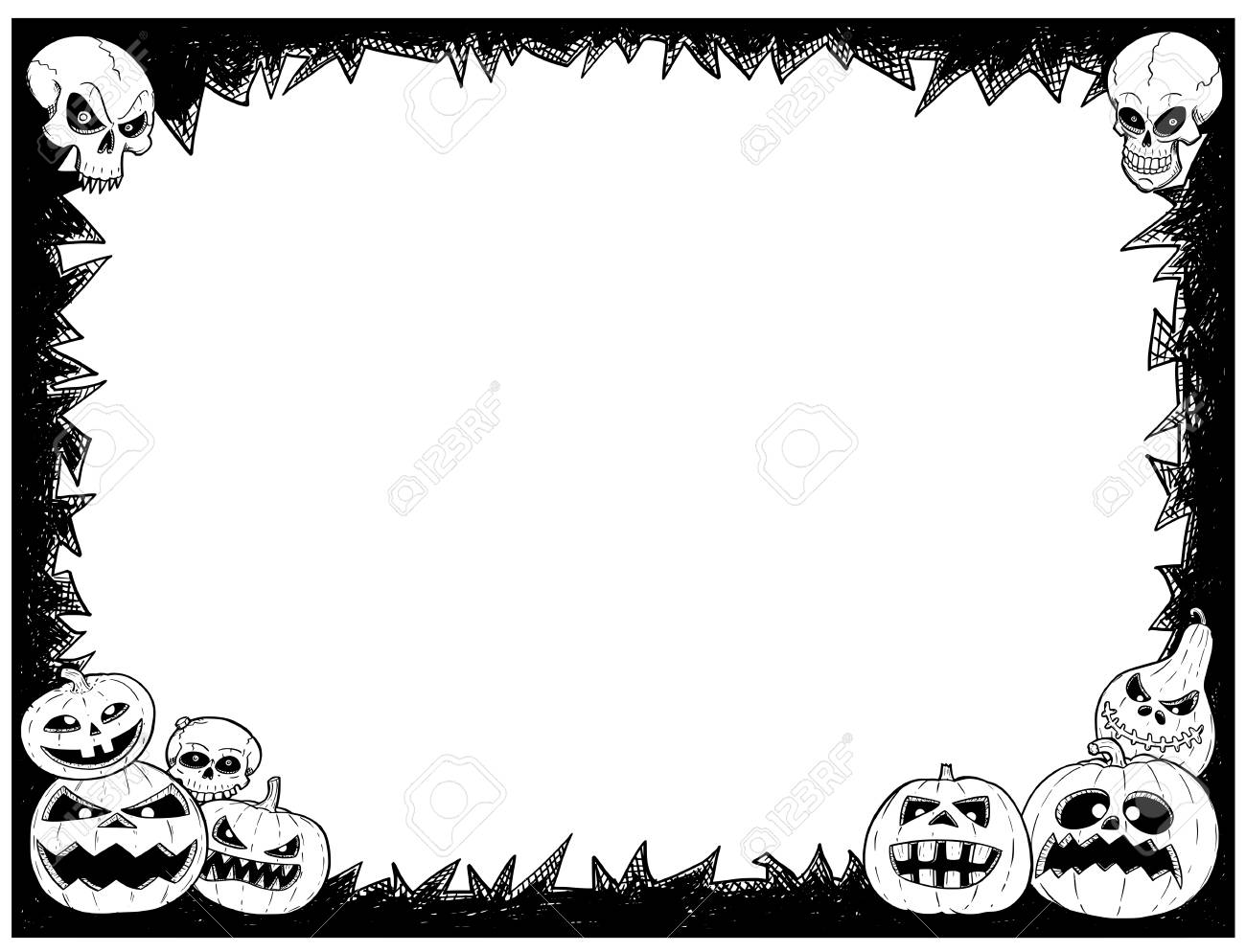 Hand Drawing Cartoon Halloween Frame With Skull And Pumpkin ...