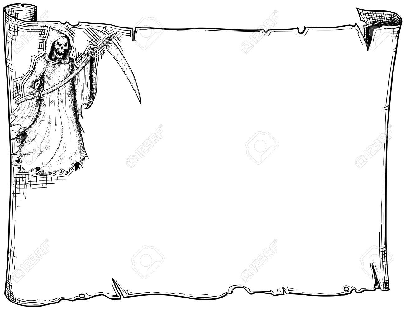 hand drawing cartoon halloween frame scroll sheet of parchment with grim reaper illustrations stock vector - Halloween Sheet