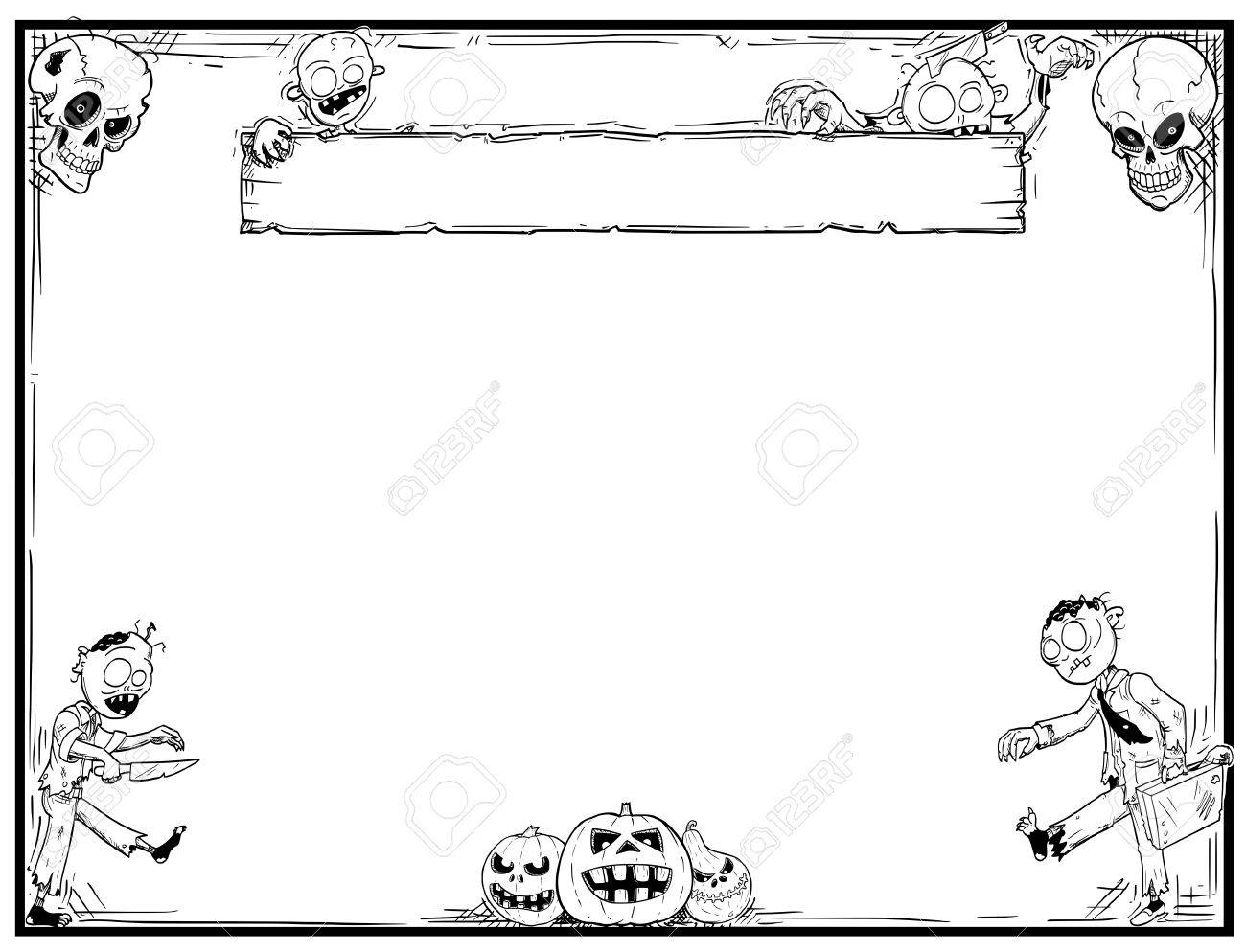 Hand drawing cartoon Halloween frame with cute zombie,skull and pumpkin illustrations. - 85259582