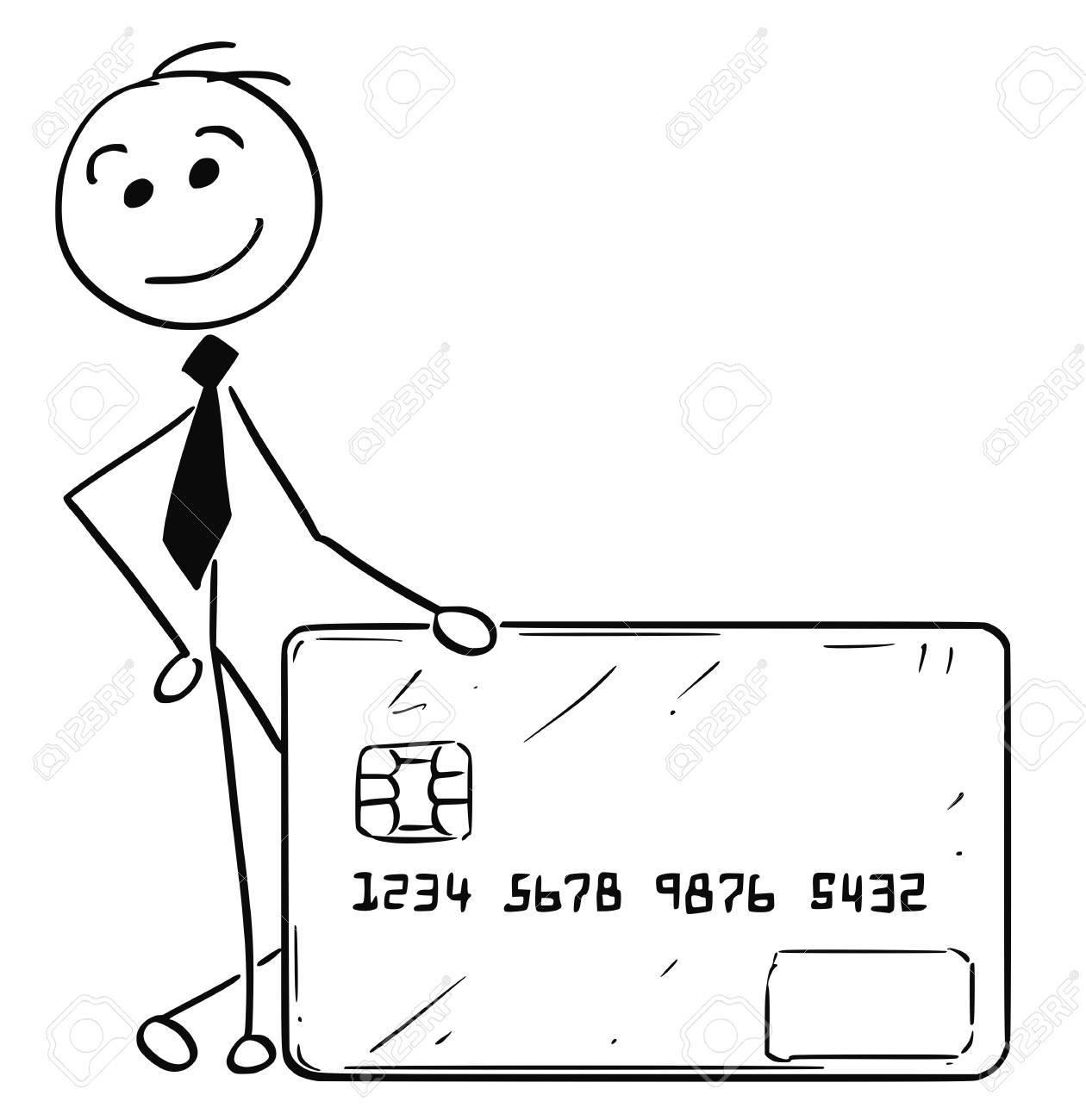 漫画スティック男イラスト ビジネス男性ビジネスマンのクレジット カード
