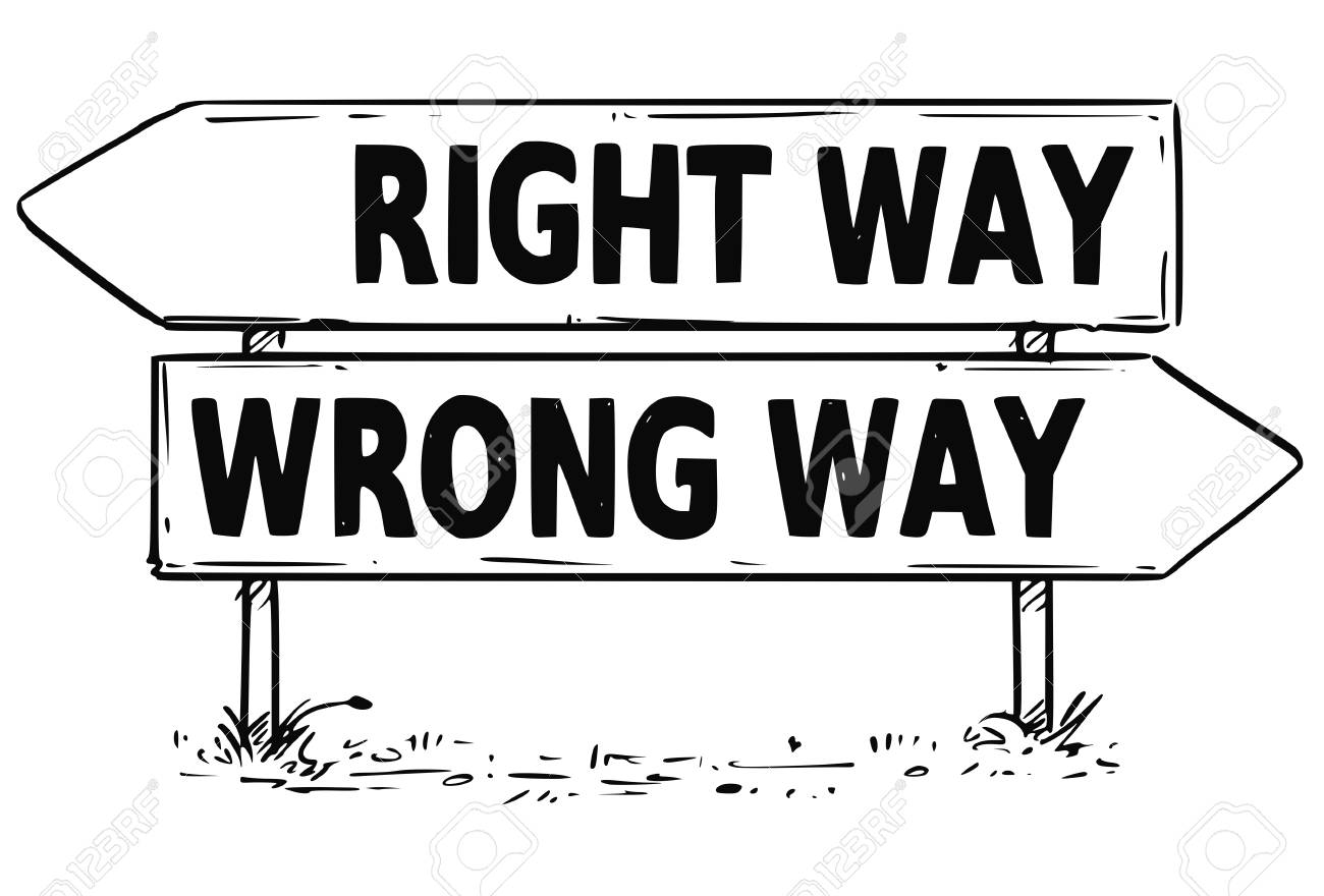 Vector Drawing Of Right Or Wrong Way Business Decision Traffic ...