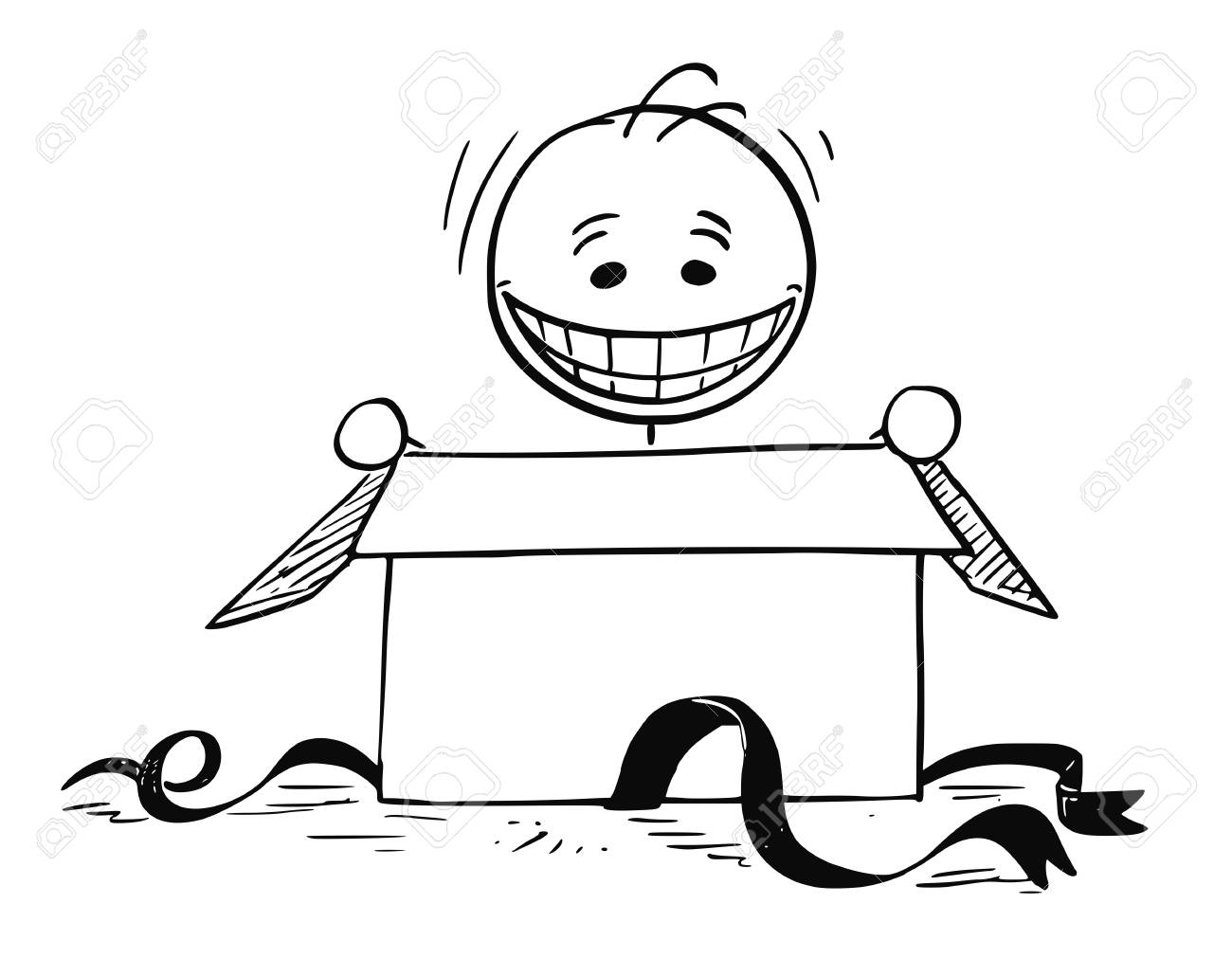 Cartoon Stick Man Drawing Illustration Of Happy Smiling Man Looking