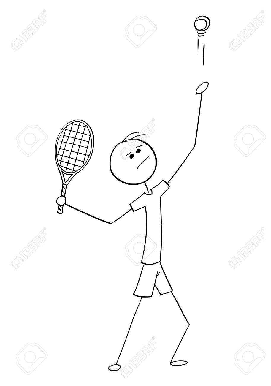 Cartoon Stick Man Drawing Illustration Of One Man Male Tennis Royalty Free Cliparts Vectors And Stock Illustration Image 91777859