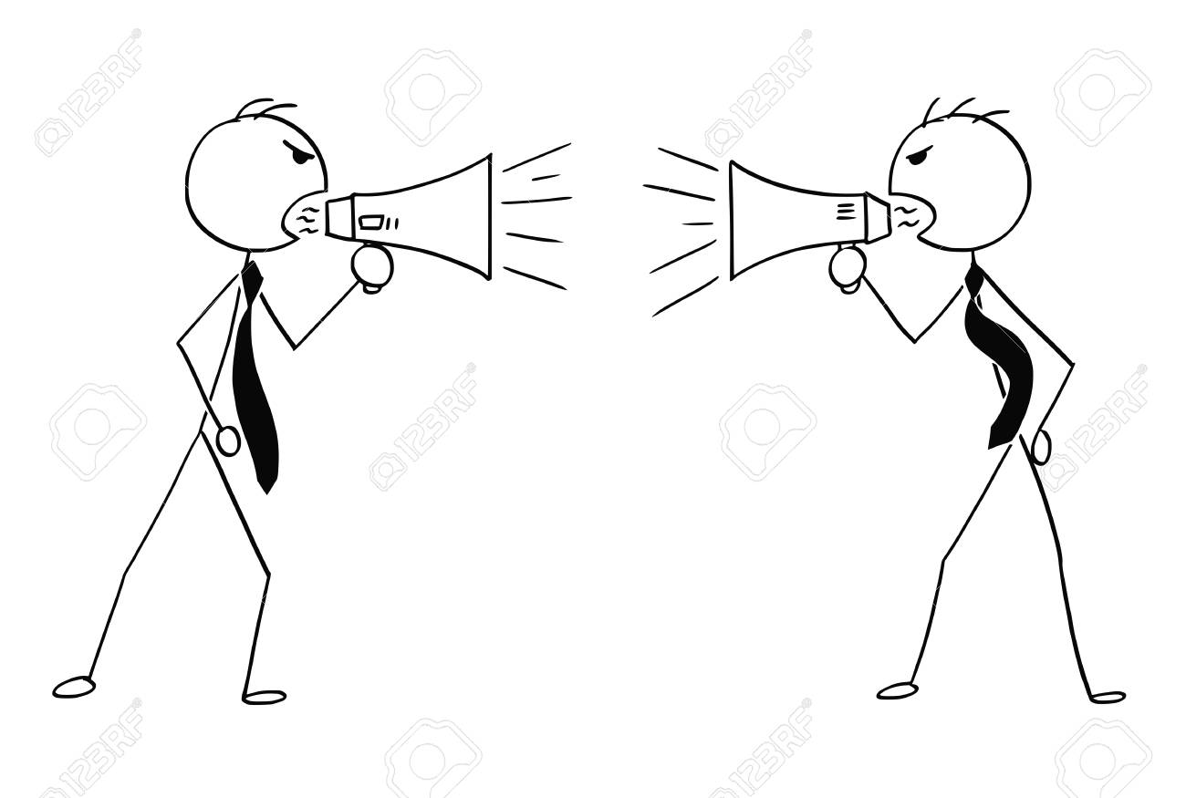 Cartoon stick man drawing conceptual illustration of two angry businessmen using megaphone to talk to each other. - 92626692
